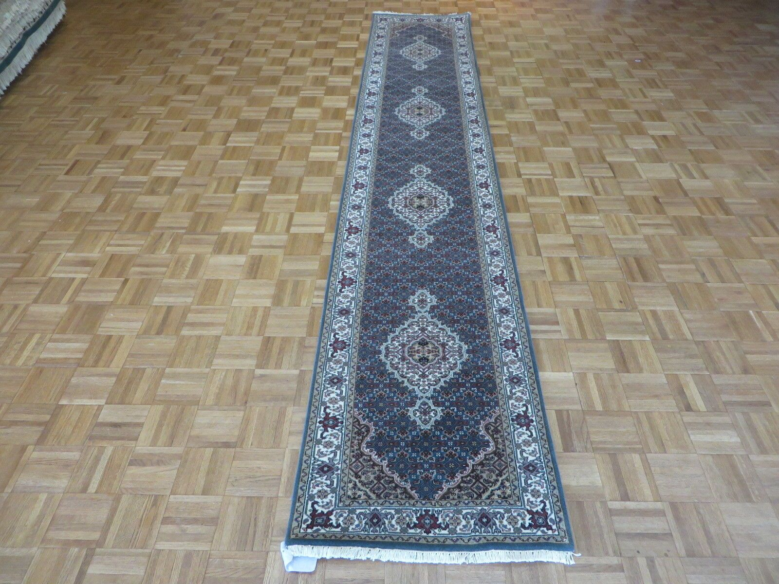 One-of-a-Kind Raiden Hand-Knotted Wool Blue Area Rug Rug Size: Runner 2'6