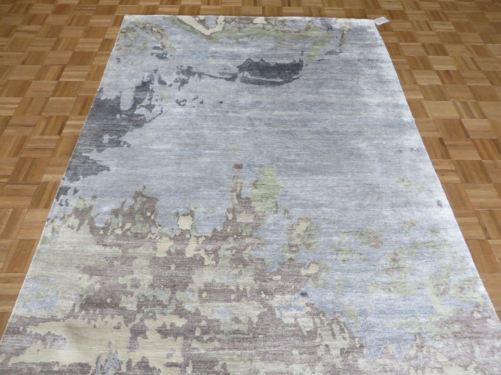 One-of-a-Kind Padang Sidempuan Modern Abstract Hand-Knotted Wool Sky Blue Area Rug Rug Size: Round 8'