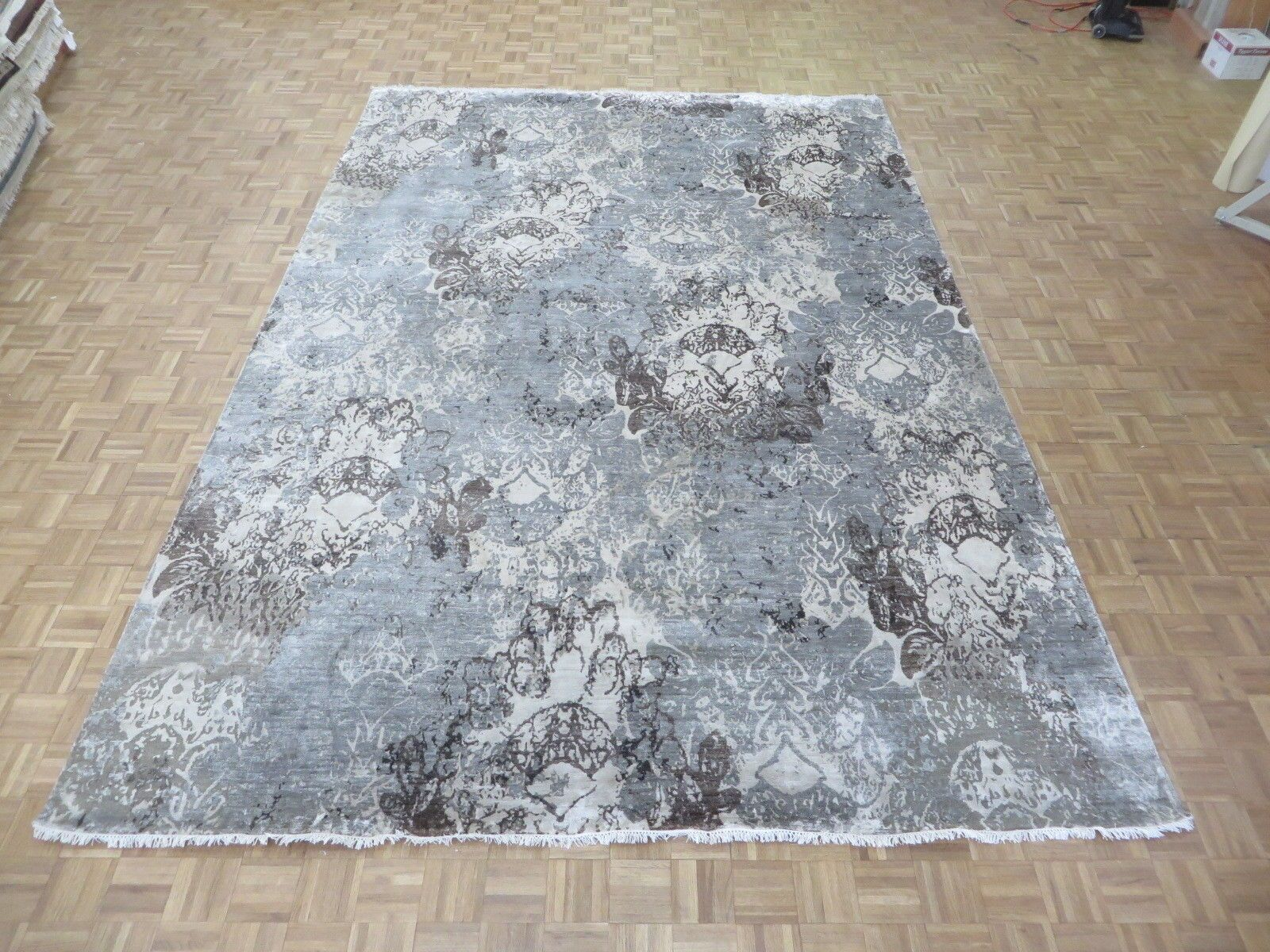 One-of-a-Kind Pellegrino Modern Abstract Hand-Knotted Gray Area Rug Rug Size: Rectangle 5'10