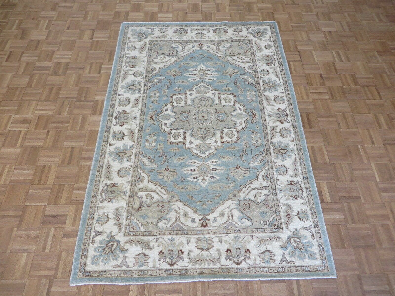 One-of-a-Kind Railsback Serapi Heriz Hand-Knotted Wool Blue Area Rug