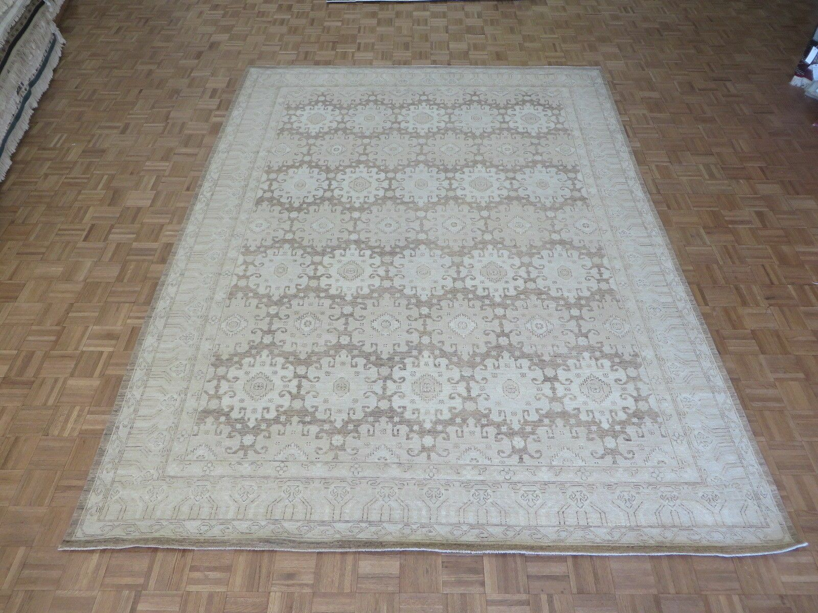 One-of-a-Kind Railsback Khotan Oushak Hand-Knotted Wool Brown Area Rug
