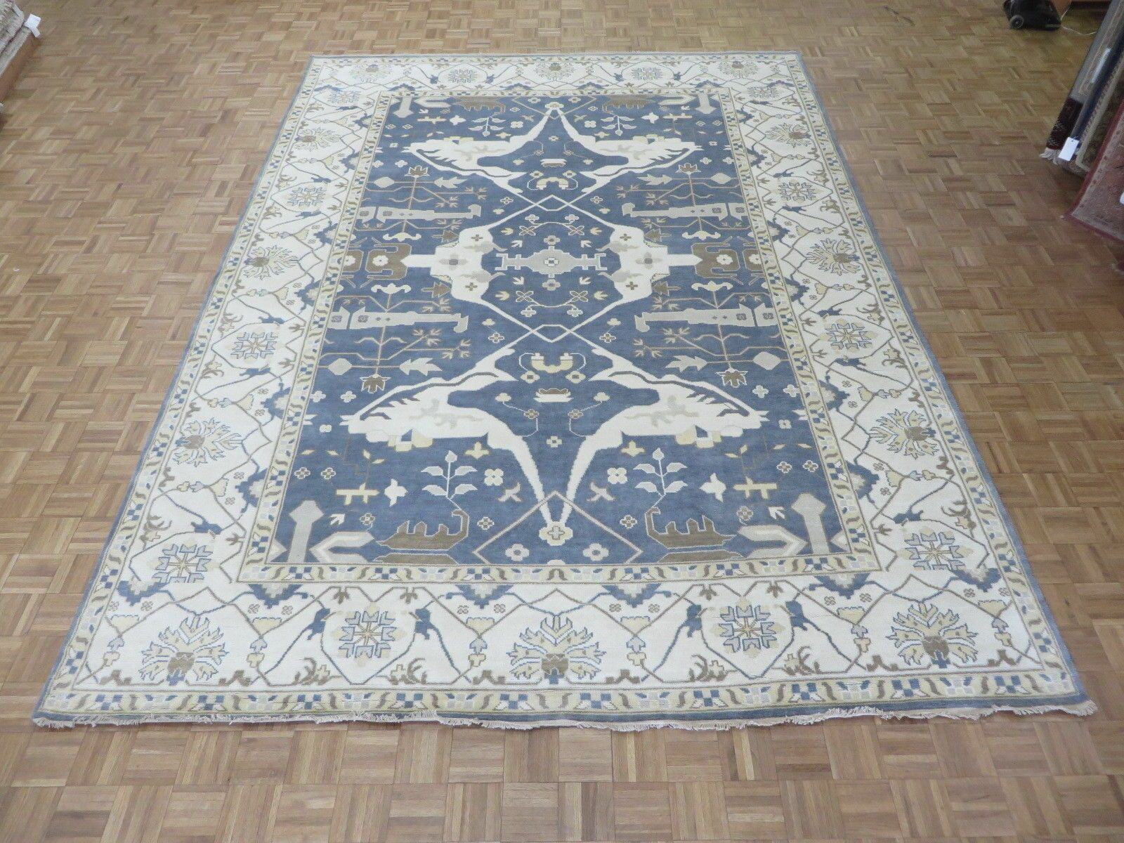 One-of-a-Kind Pellegrino Oushak Hand-Knotted Denim Blue Area Rug