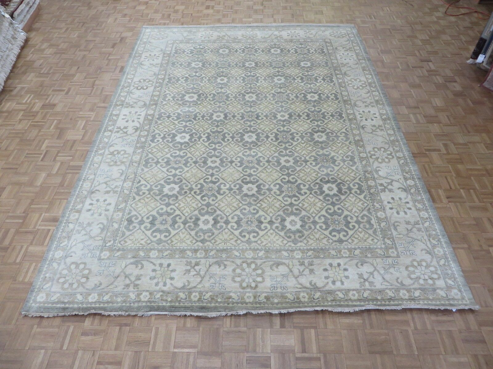 One-of-a-Kind Pafford Oushak Peshawar Hand-Knotted Gray Area Rug