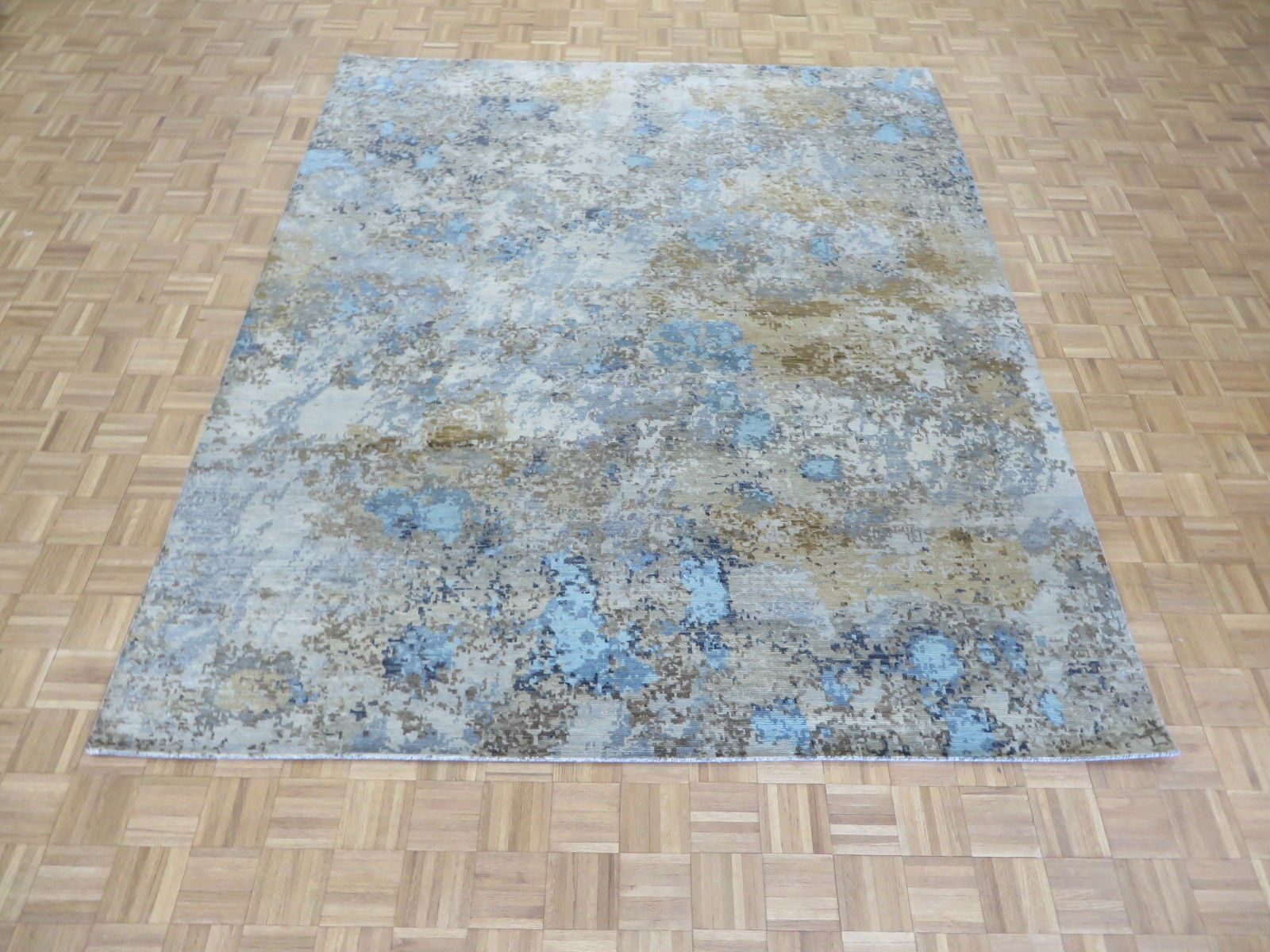 One-of-a-Kind Pellegrino Modern Abstract Hand-Knotted Sky Blue/Brown Area Rug