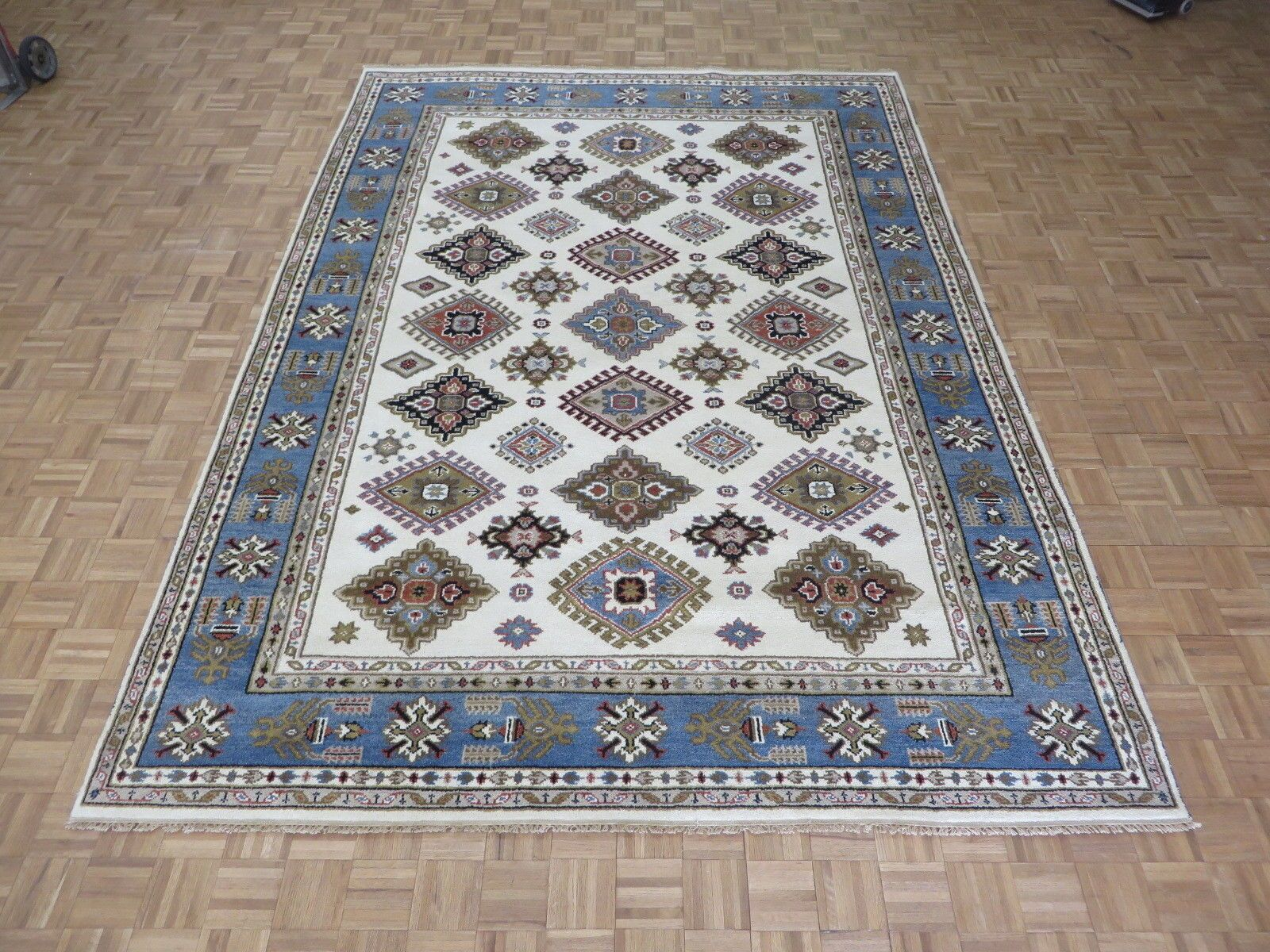 One-of-a-Kind Padula Tribal Hand-Knotted Wool Ivory/Blue Area Rug
