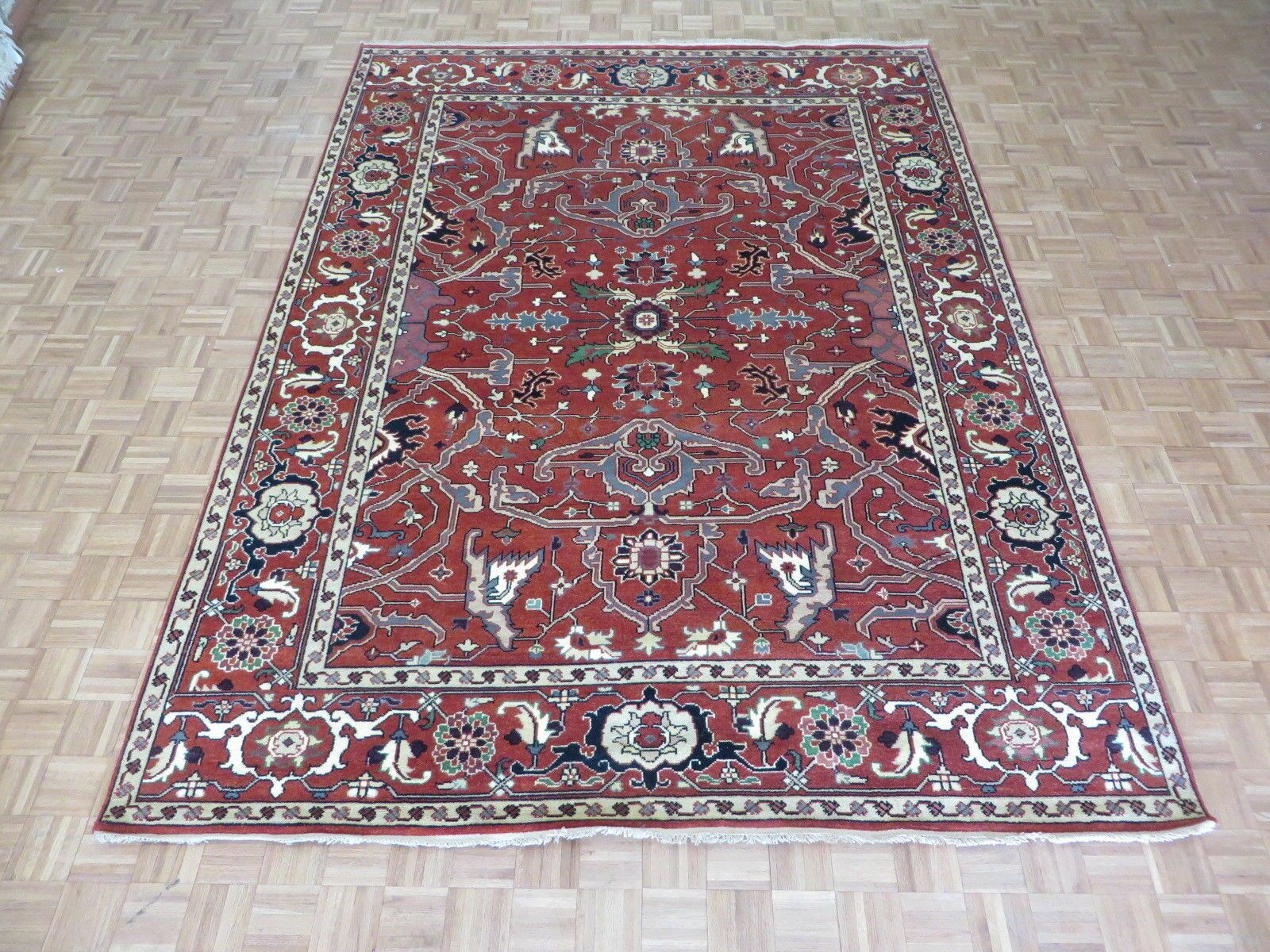 One-of-a-Kind Padro Serapi Heriz Hand-Knotted Wool Brick Red Area Rug