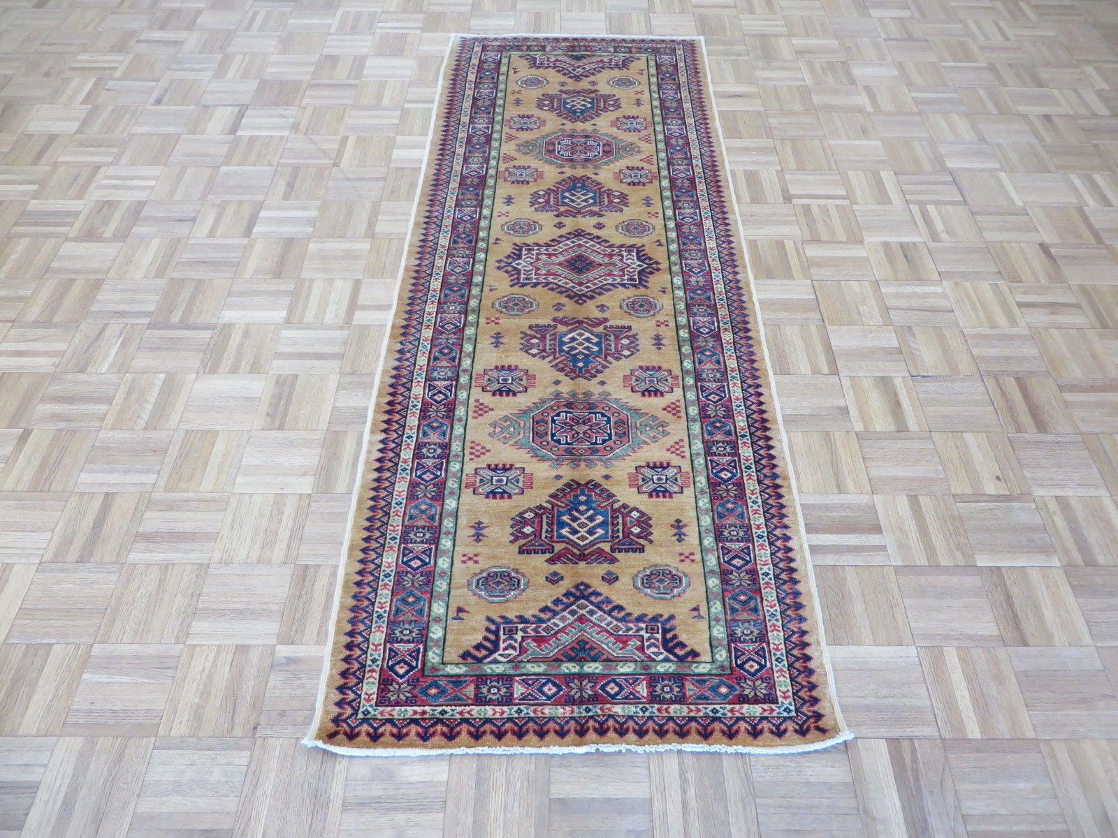 One-of-a-Kind Padula Super Hand-Knotted Wool Gold Area Rug Rug Size: Runner 2'8