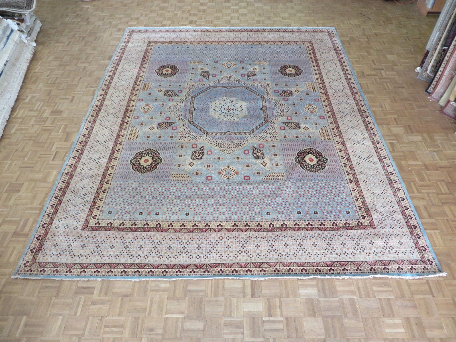 One-of-a-Kind Pagan Hand-Knotted Wool Sky Blue Area Rug