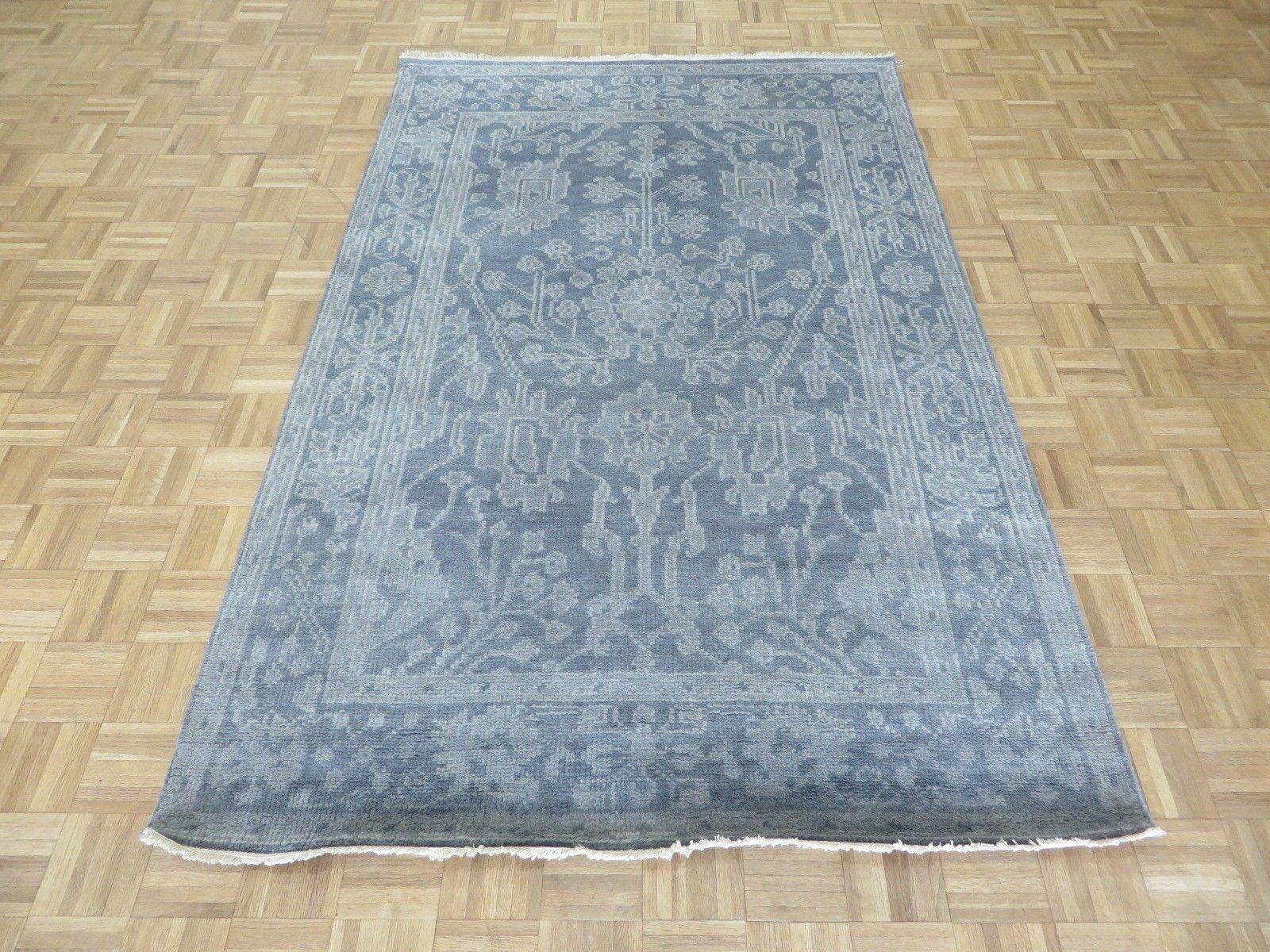 One-of-a-Kind Sherika Oushak Ushak Hand-Knotted Wool Silver/Blue Area Rug