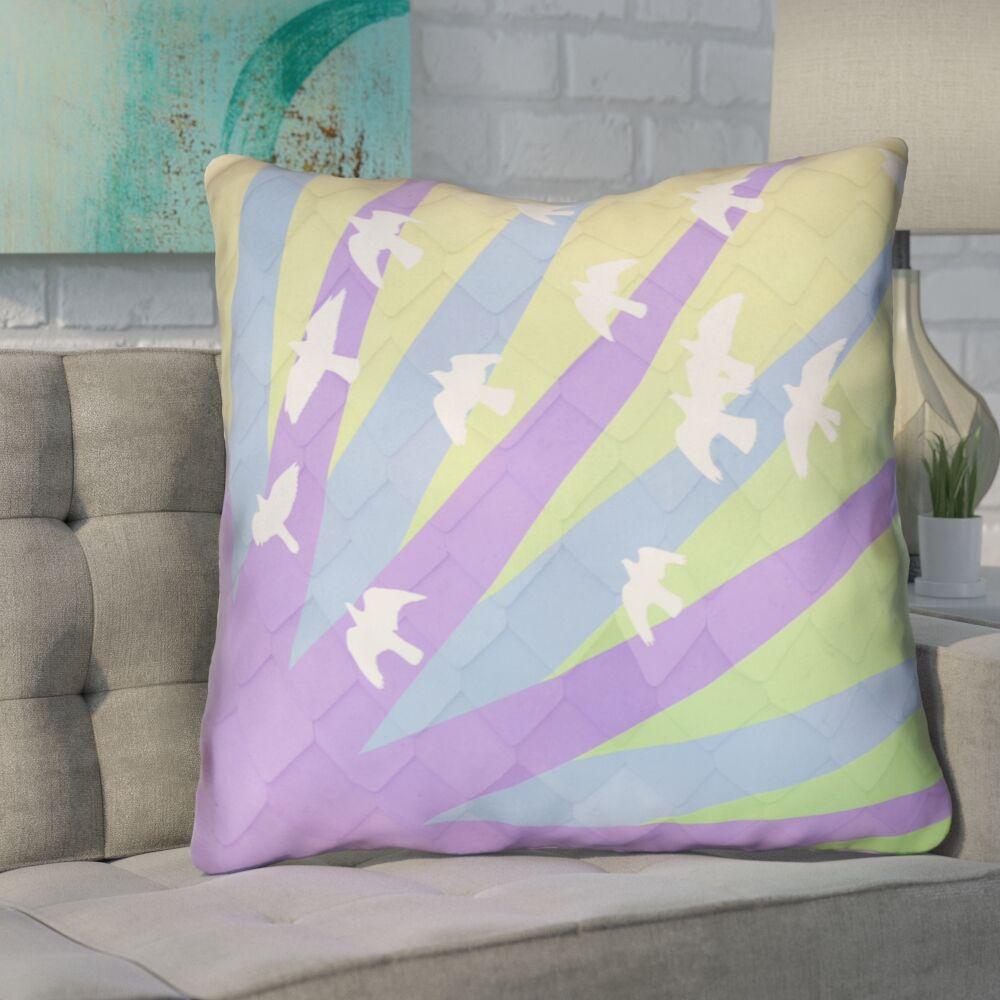 Enciso Birds and Sun Throw Pillow Size: 20