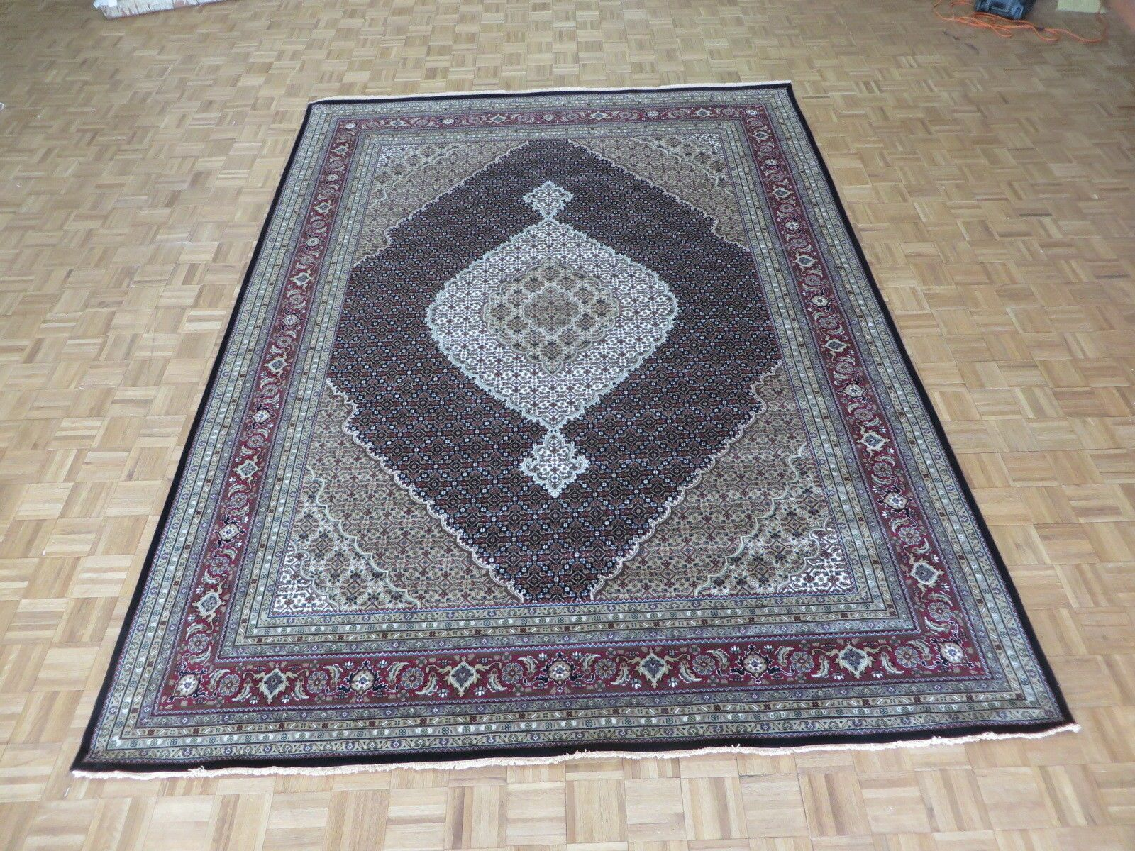 One-of-a-Kind Padro Hand-Knotted Wool Black Area Rug Rug Size: Rectangle 8'10