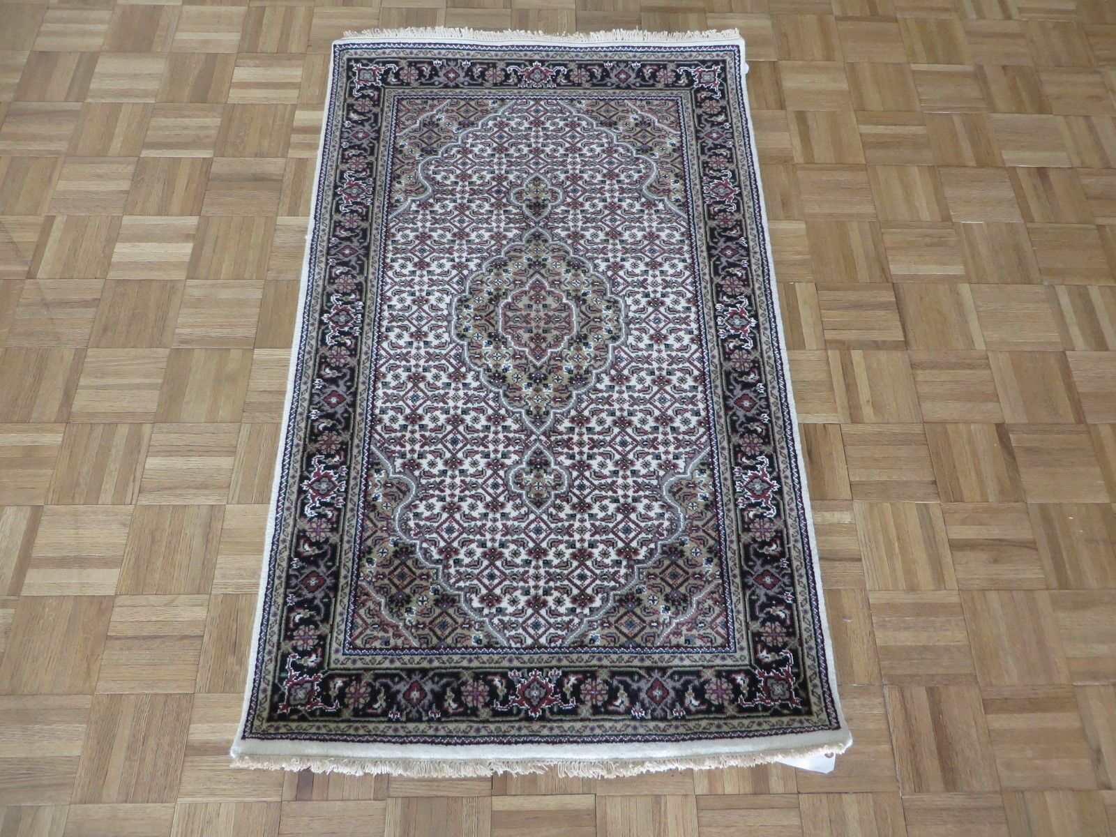 One-of-a-Kind Rhyne Persian Mahi Hand-Knotted Ivory/Black Area Rug