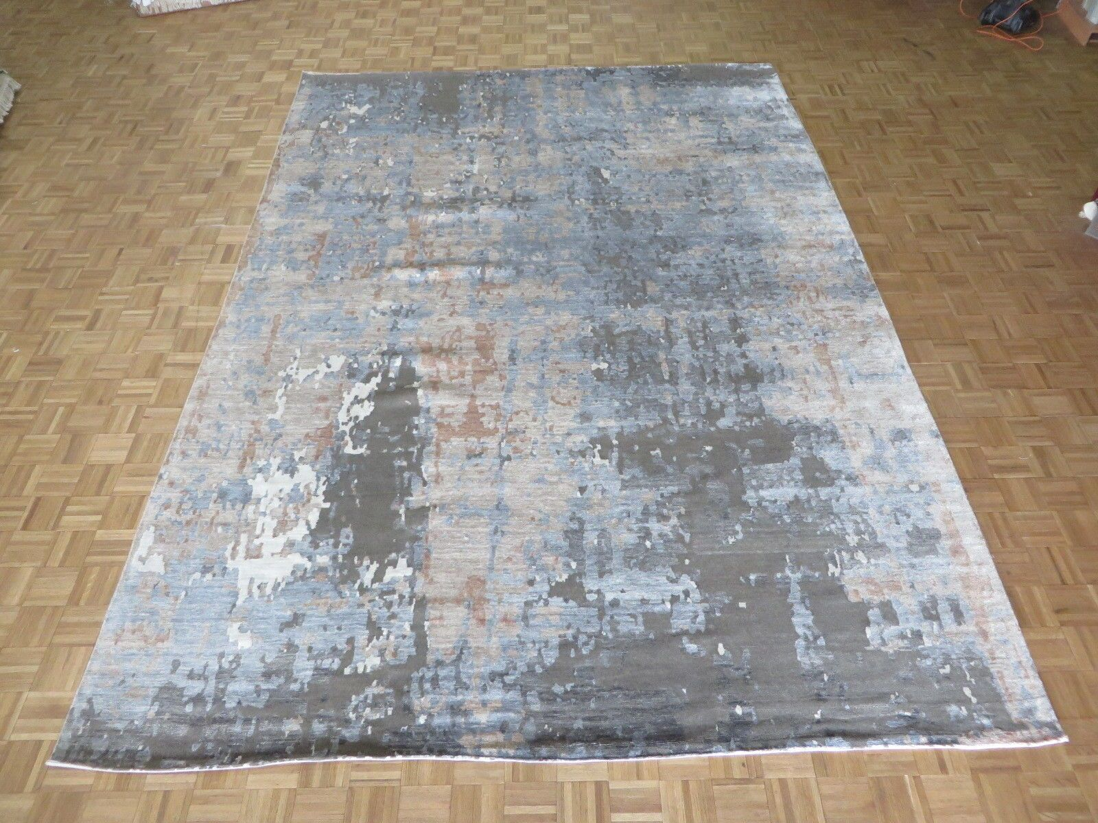 One-of-a-Kind Crest Lane Modern Abstract Hand-Knotted Brown/Gray Area Rug Rug Size: Rectangle 8'11