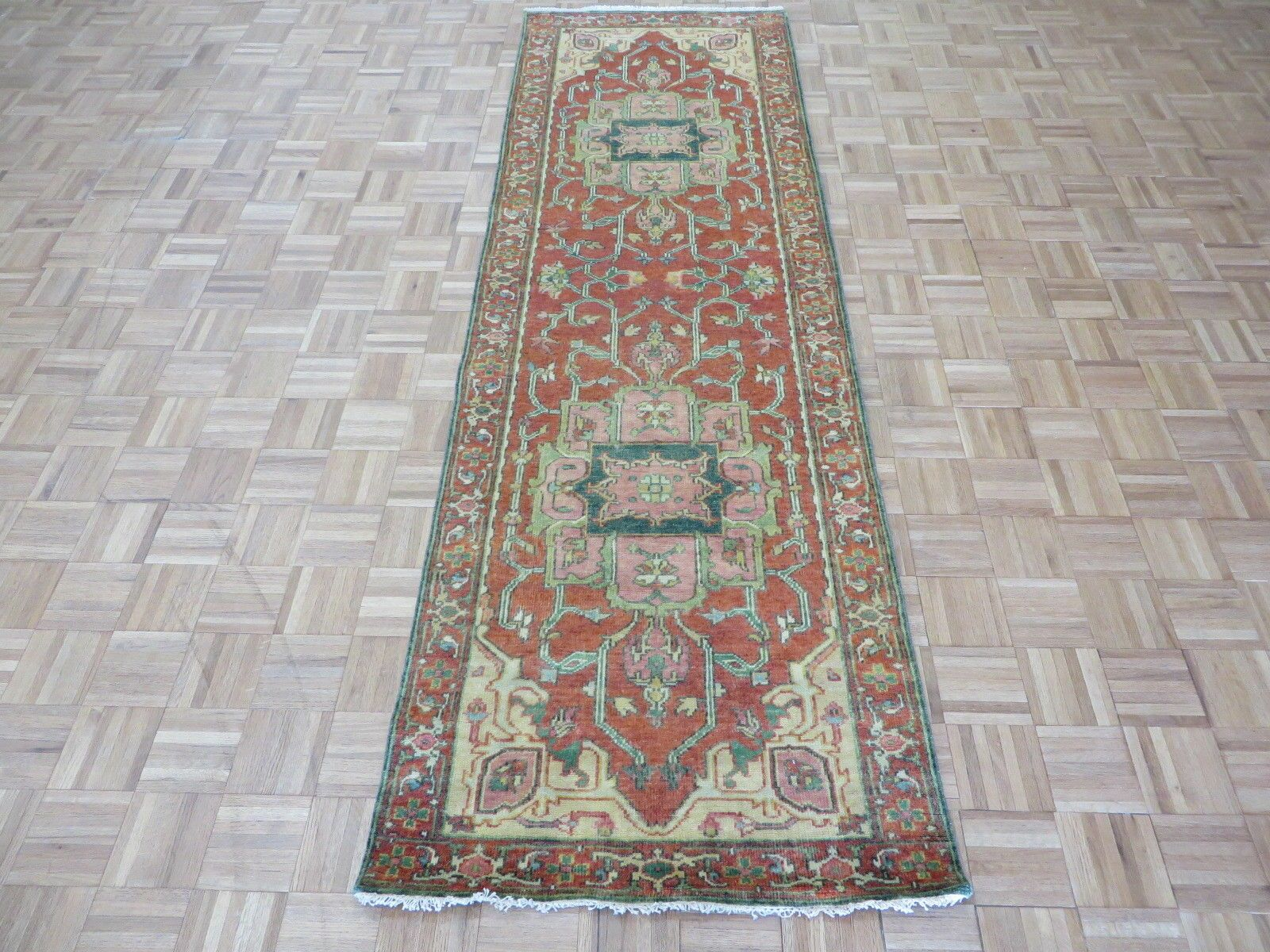 One-of-a-Kind Josephson Antiqued Serapi Heriz Hand-Knotted Wool Rust Orange Area Rug Rug Size: Runner 3' x 9'9