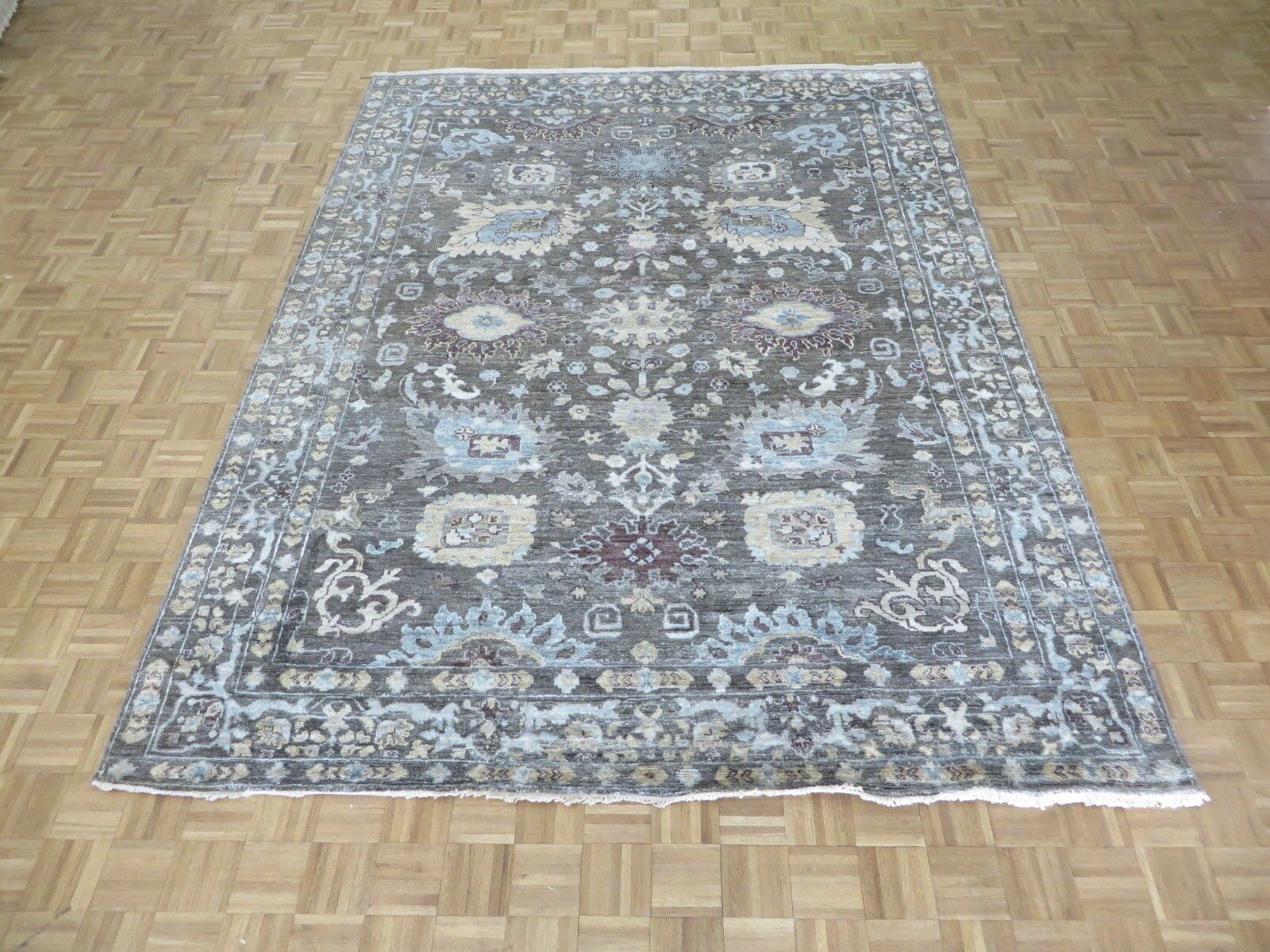 One-of-a-Kind Josephson Oushak Hand-Knotted Silk Gray Area Rug
