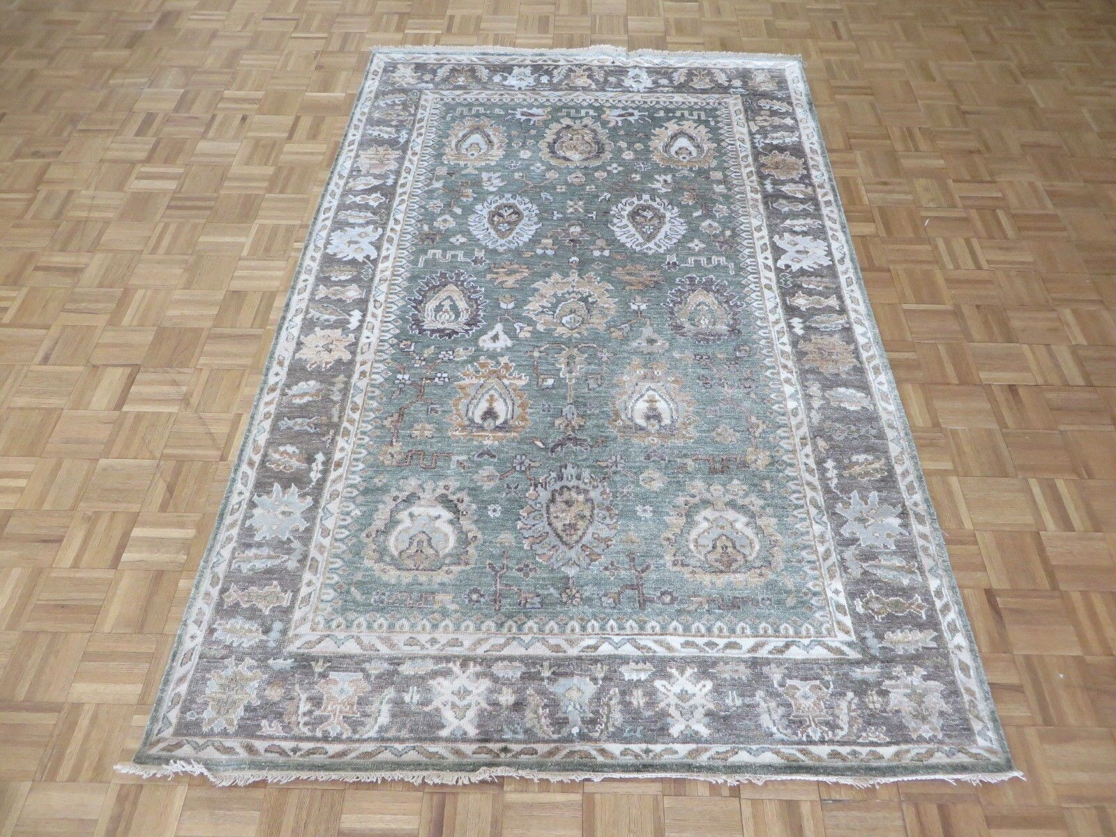 One-of-a-Kind Josephson Oushak Hand-Knotted Silk Sage Green/Brown Area Rug