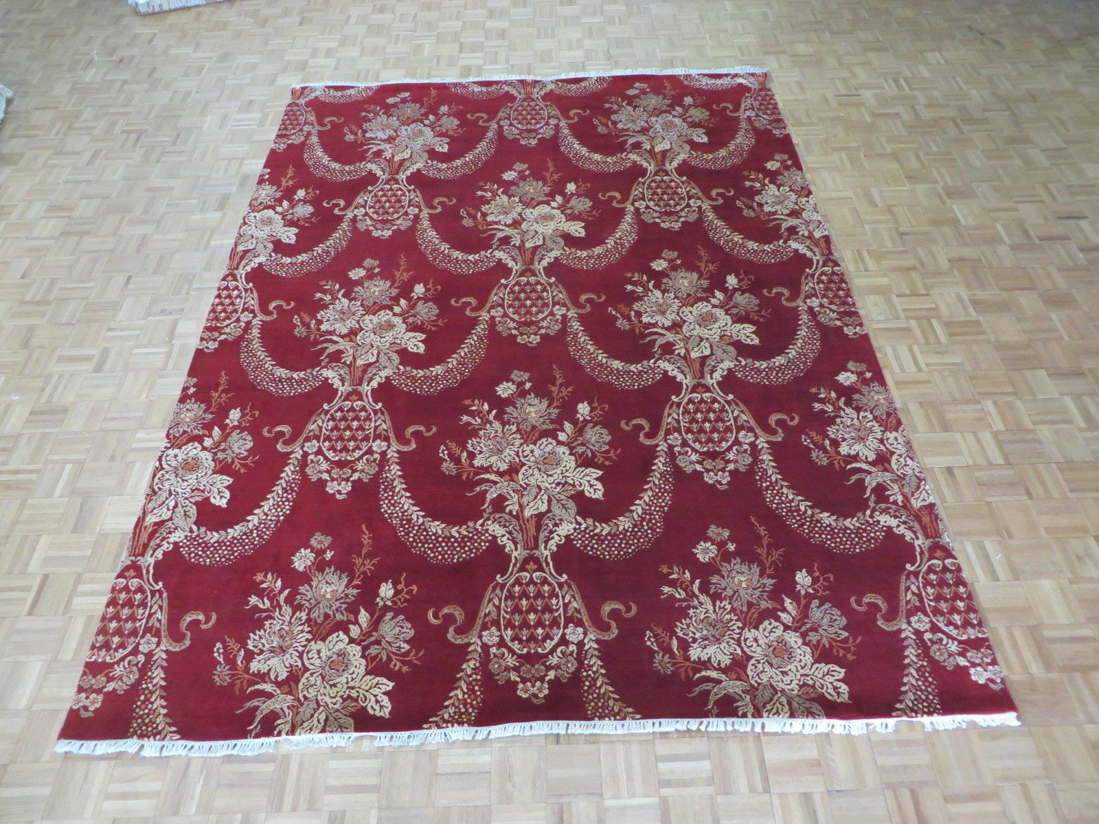 One-of-a-Kind Railey Jewel Hand-Knotted Silk Red Area Rug
