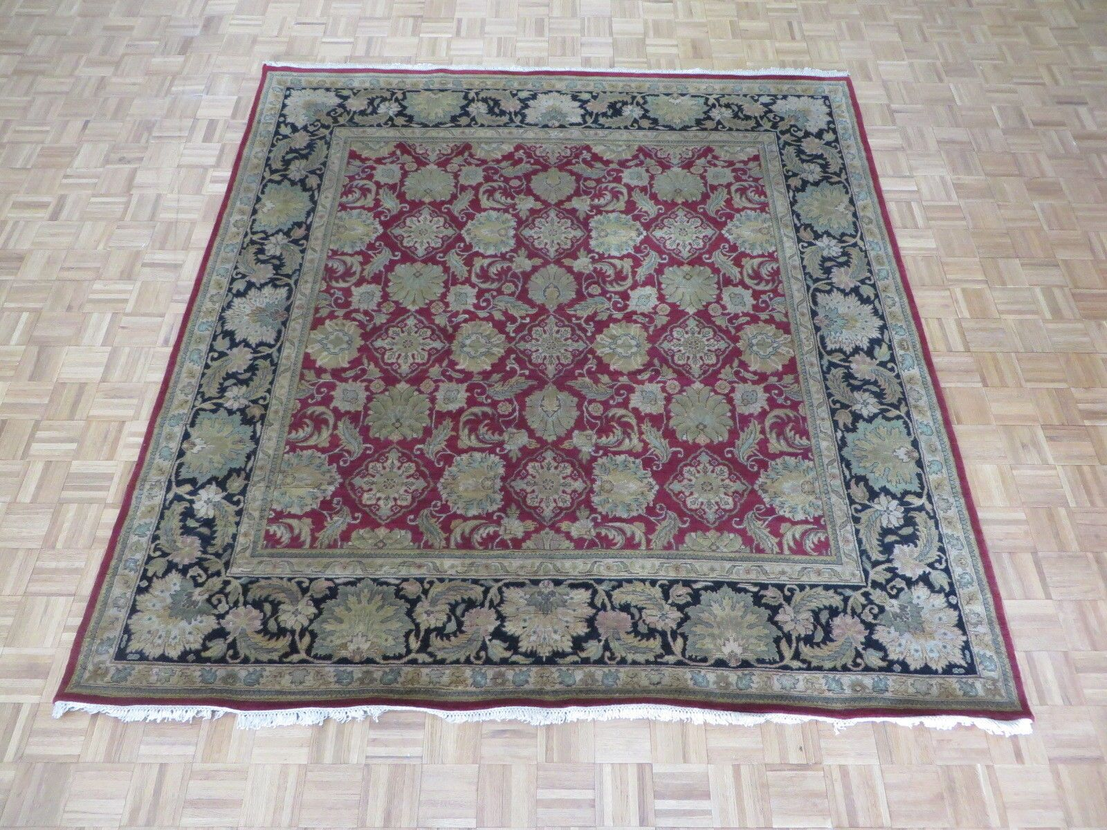 One-of-a-Kind Railey Hand-Knotted Burgundy/Black Area Rug
