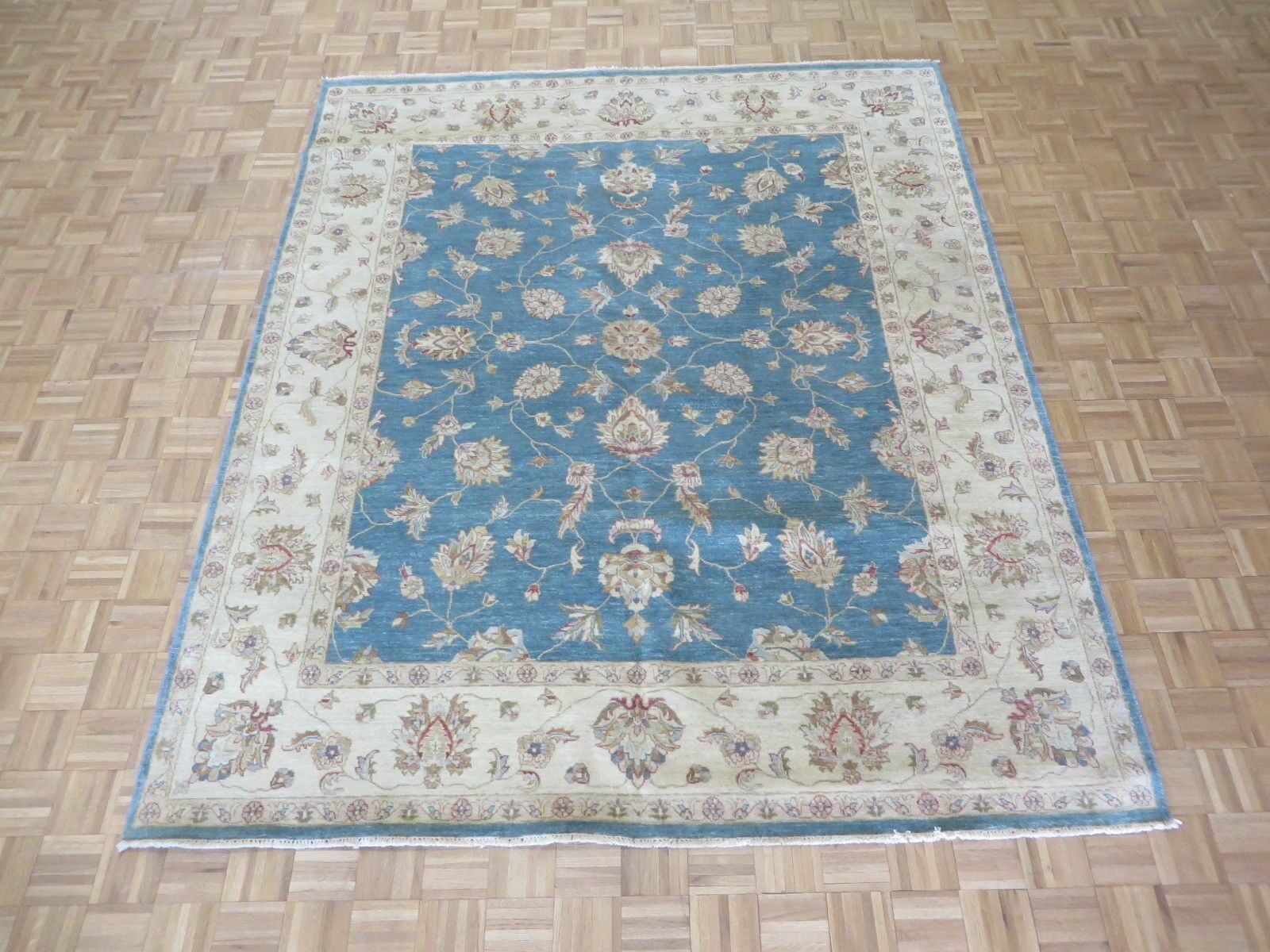 One-of-a-Kind Railsback Oushak Hand-Knotted Wool Sky Blue/Black Area Rug