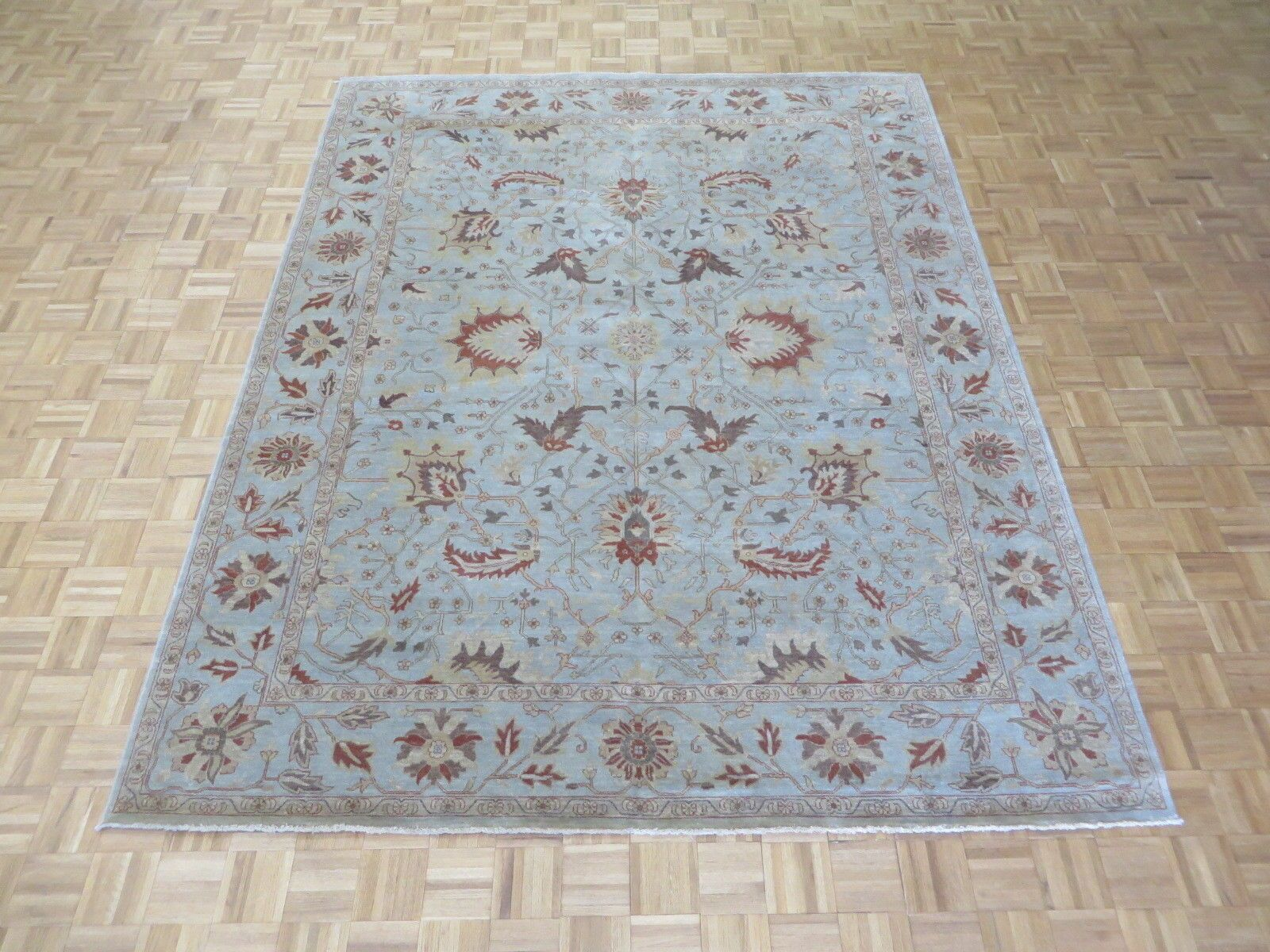 One-of-a-Kind Railsback Oushak Hand-Knotted Wool Sky Blue Area Rug Rug Size: Rectangle 8'1