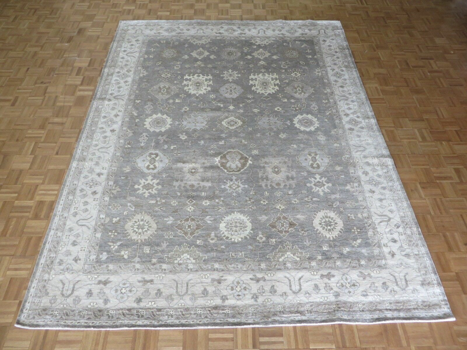 One-of-a-Kind Josephson Oushak Hand-Knotted Silver/Gray Area Rug Rug Size: Rectangle 9'9 x 13'9