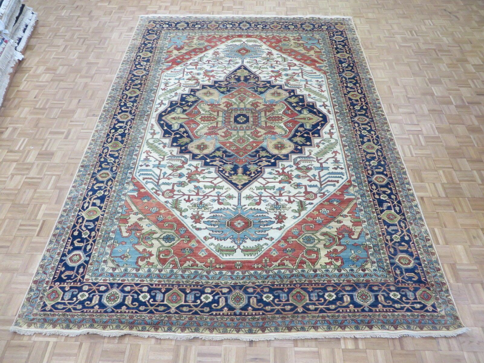 One-of-a-Kind Pellegrino Antiqued Serapi Heriz Hand-Knotted Ivory Area Rug