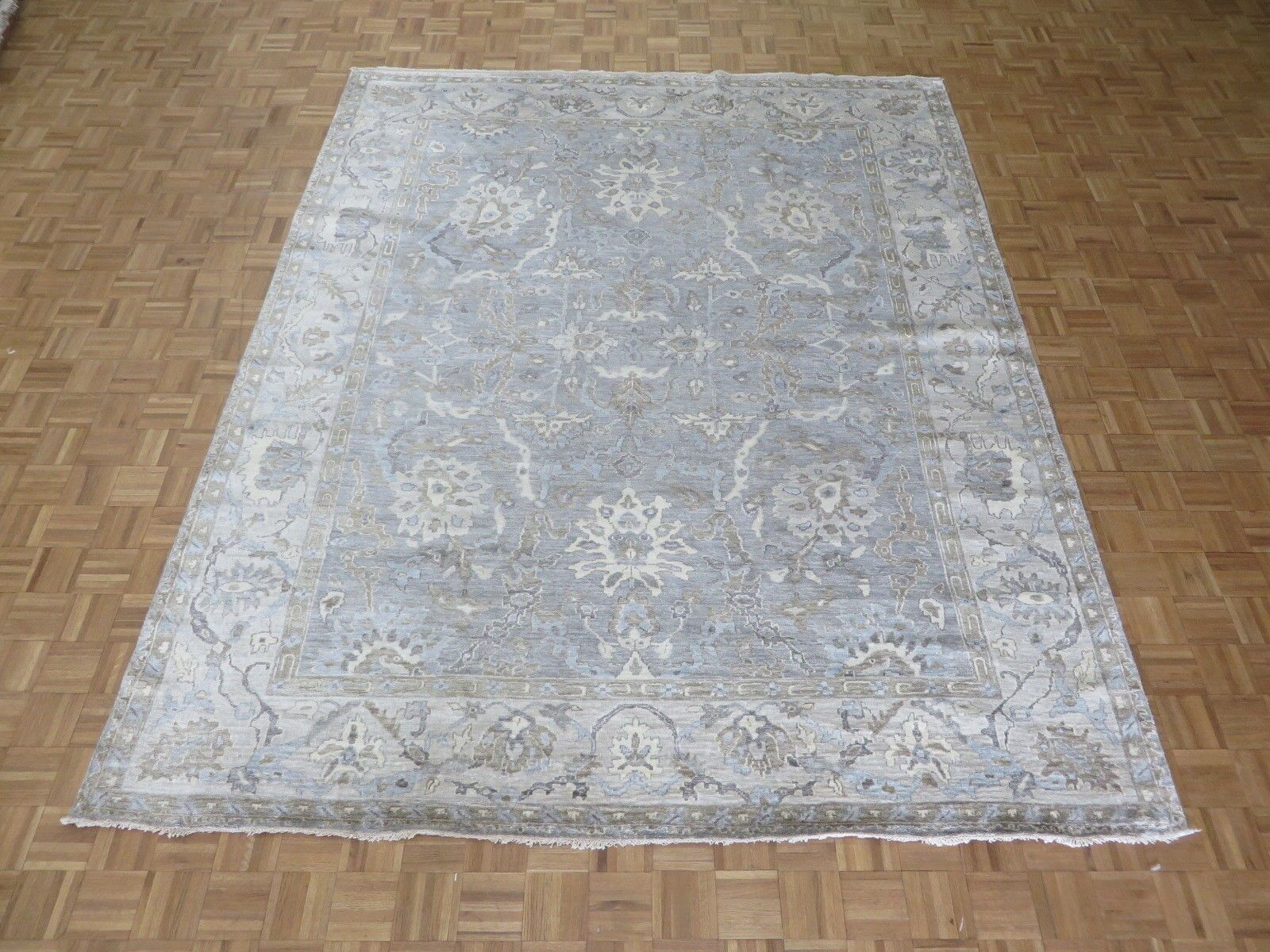One-of-a-Kind Josephson Turkish Oushak Hand-Knotted Wool Gray/Blue Area Rug