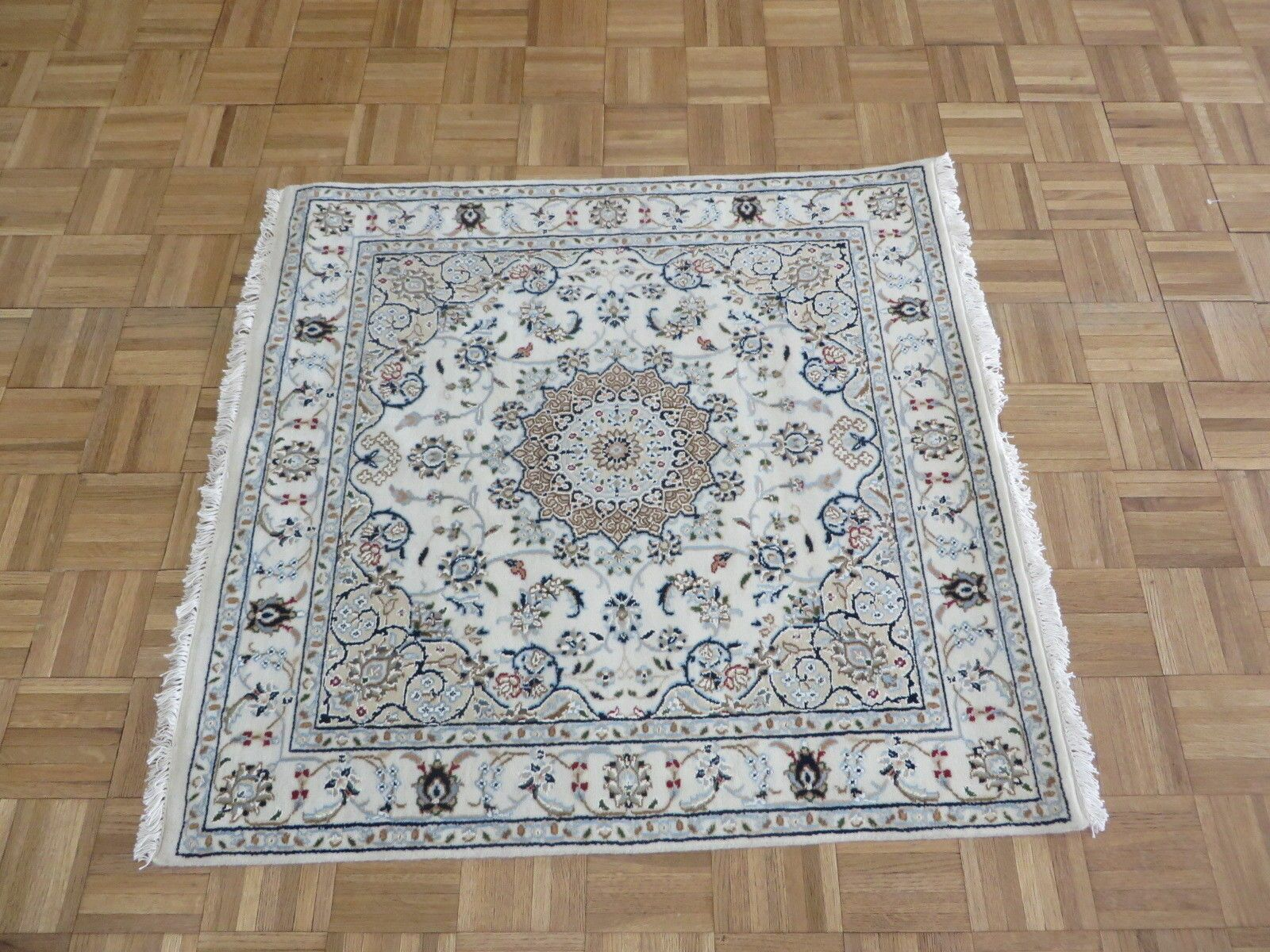 One-of-a-Kind Raley Hand-Knotted Wool Ivory Area Rug Rug Size: Square 3'7