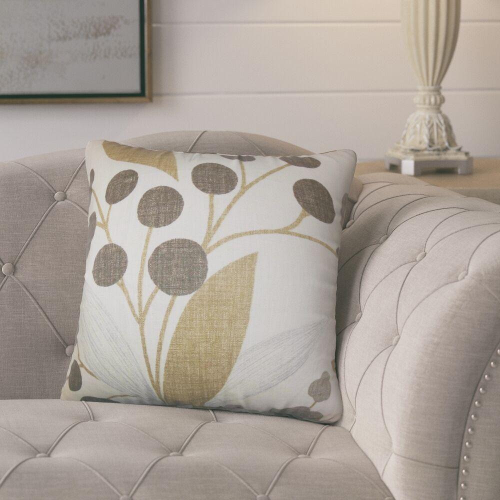 Berkhamstead Floral Linen Throw Pillow Color: Brown