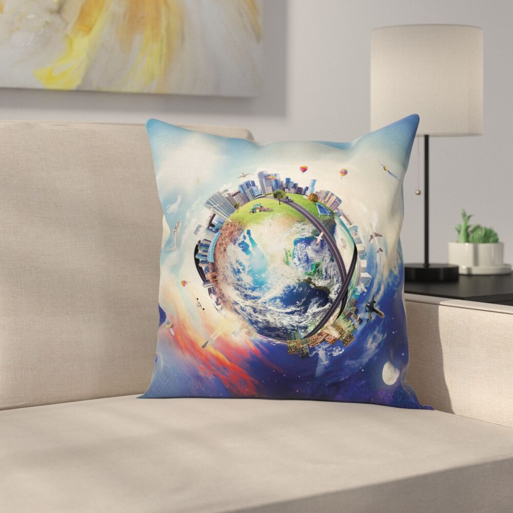 Business Theme Art Square Pillow Cover Size: 24