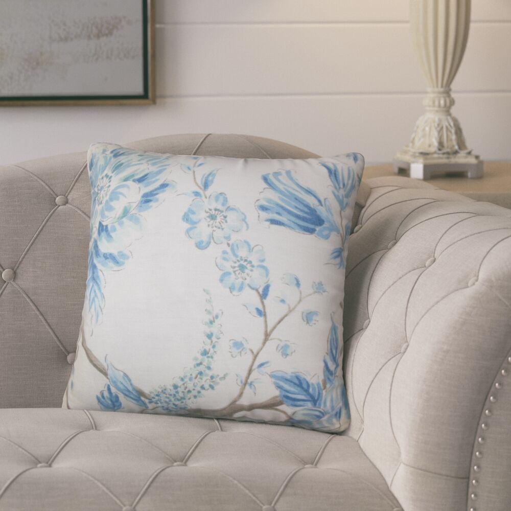 Politte Floral Linen Throw Pillow Color: Blue