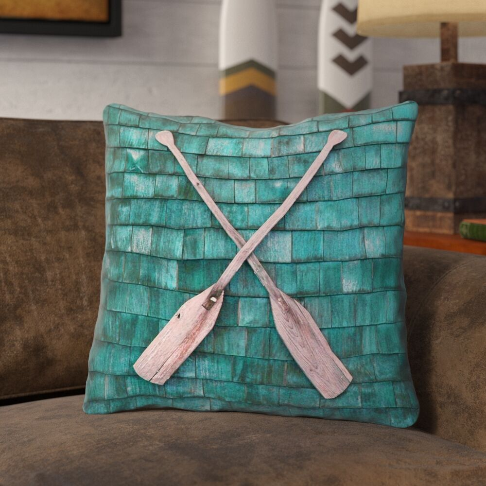 Brushton Rustic Oars Square Throw Pillow with Zipper Size: 18