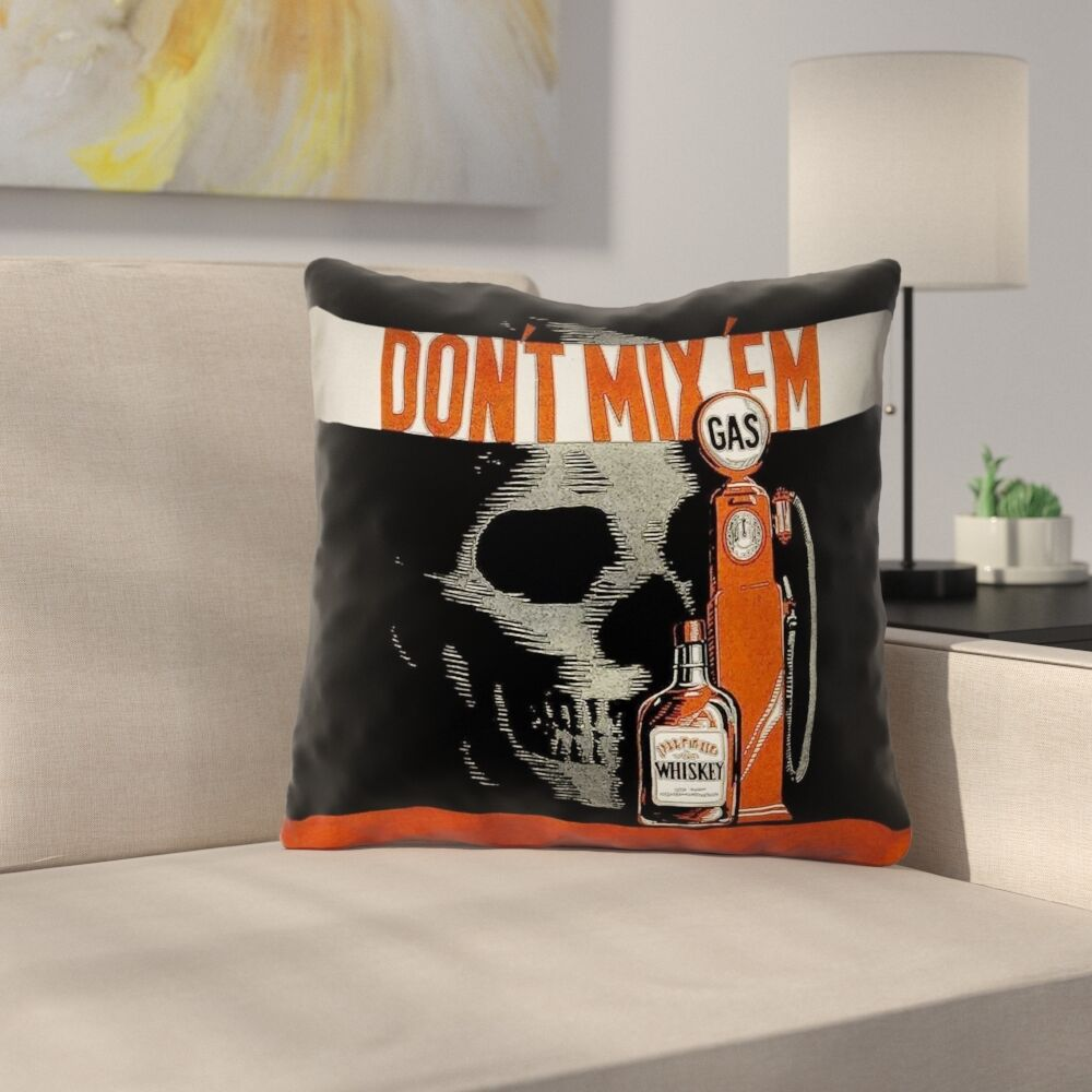 Double Sided Print Anti-Drunk Driving Poster Throw Pillow Size: 18