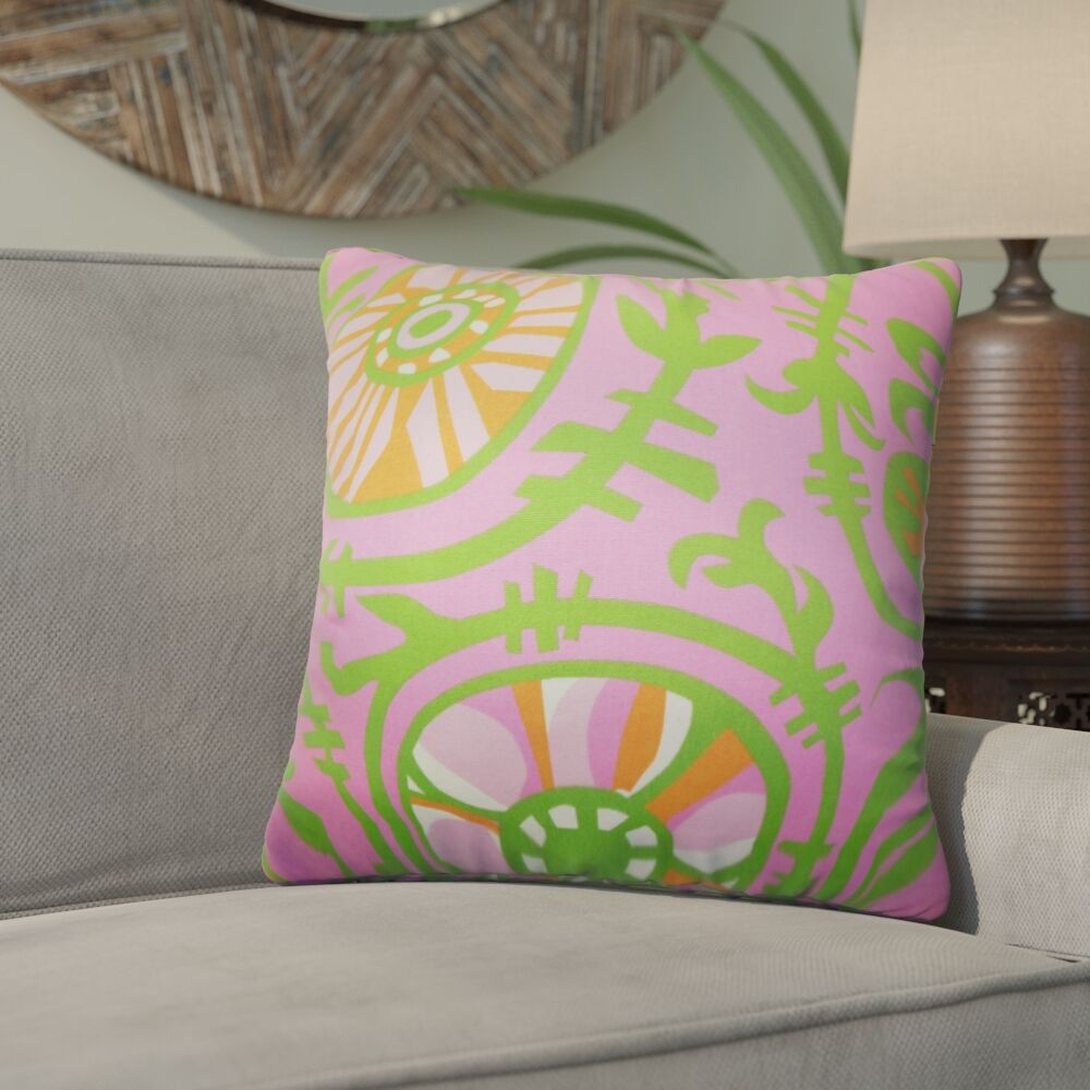 Wickson Modern Geometric Cotton Throw Pillow Color: Pink