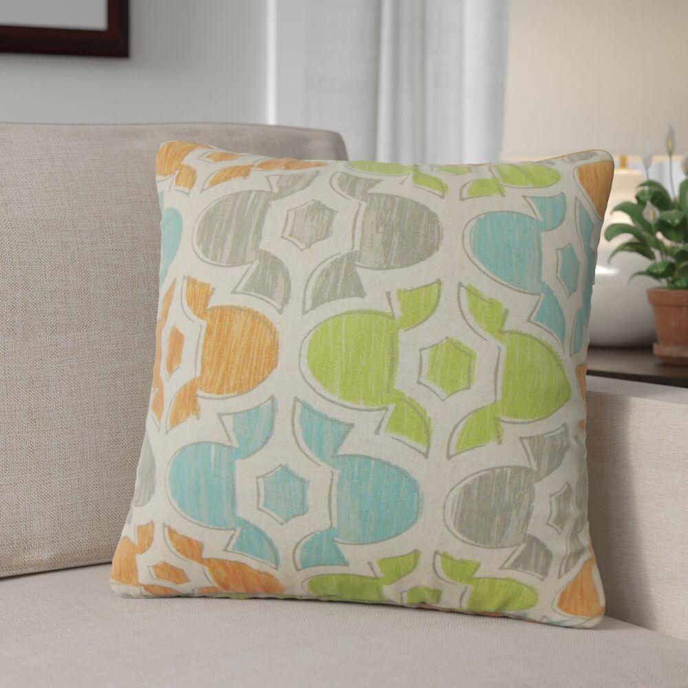 Sevier Geometric Cotton Throw Pillow Color: Orange