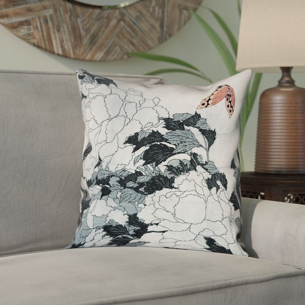Clair Peonies with Butterfly Square Linen Pillow Cover Size: 18