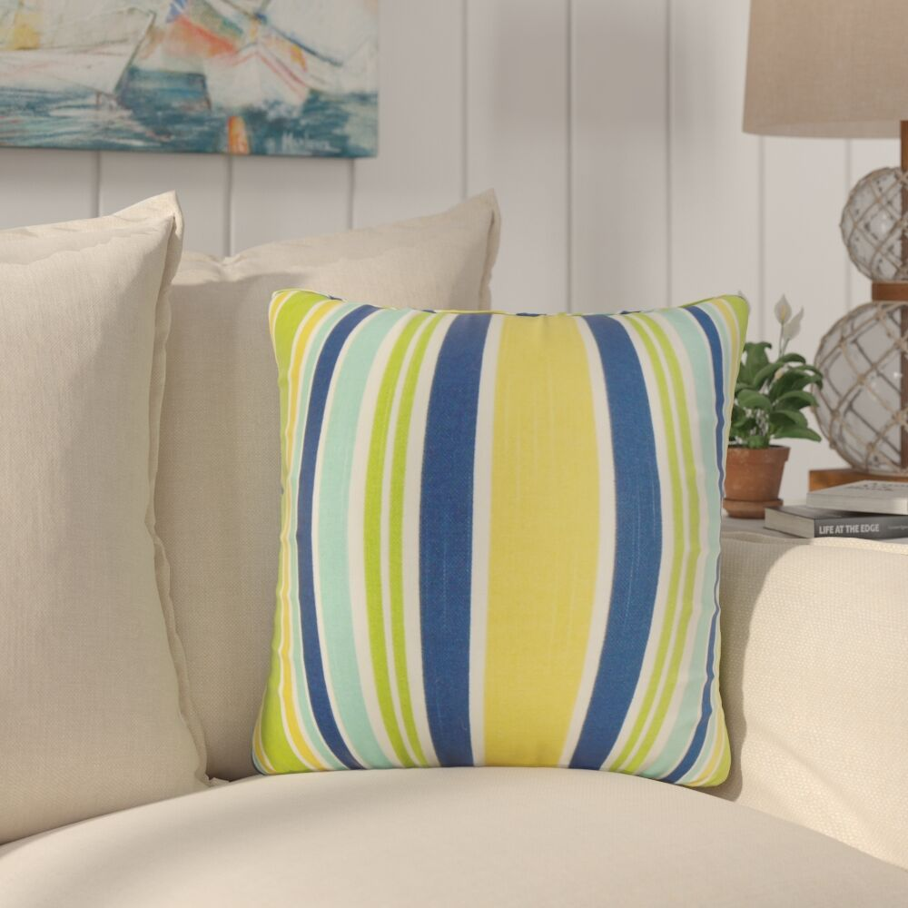 Marcial Stripe Cotton Throw Pillow Color: Yellow