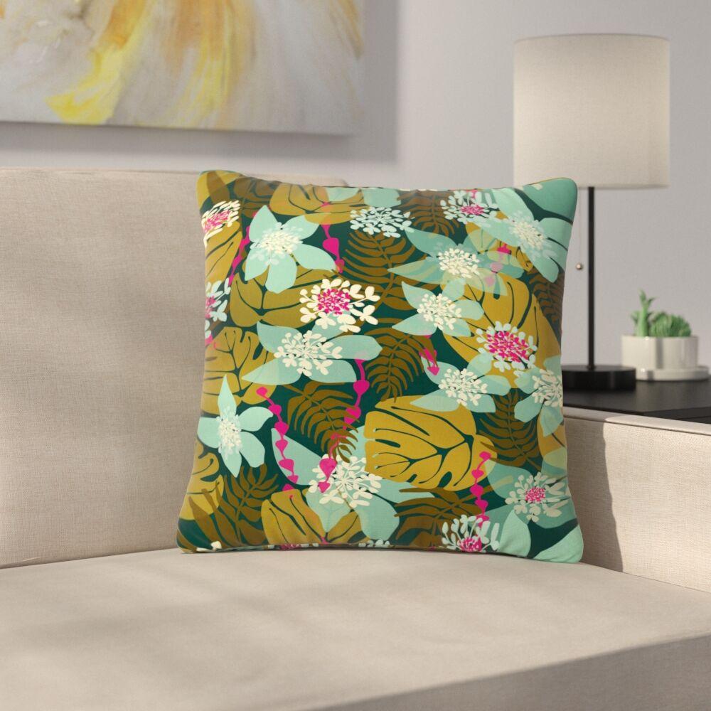 Amy Reber Tropical Tropical Floral Outdoor Throw Pillow Size: 18