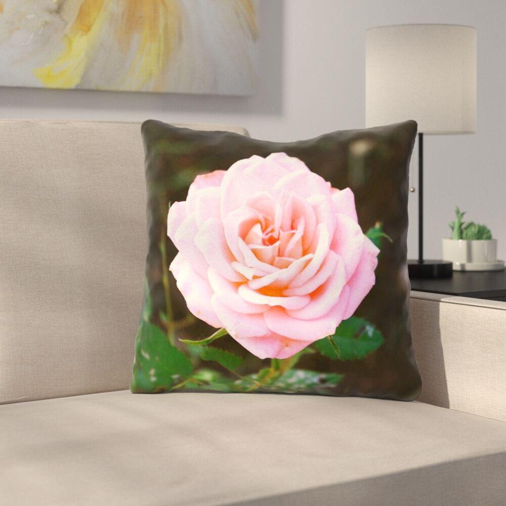 Rose Throw Pillow Size: 18