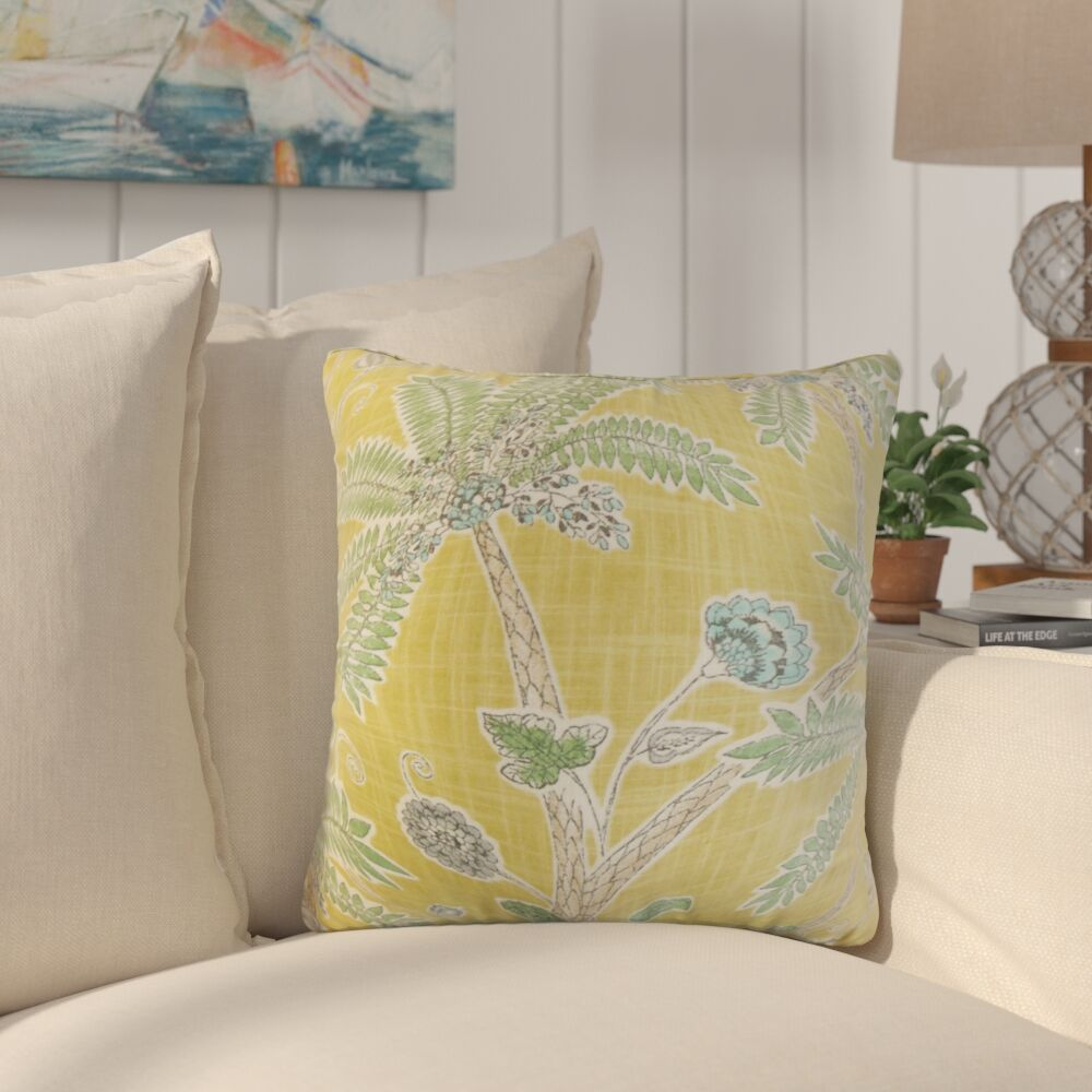 Lincya Floral Cotton Throw Pillow Color: Amber