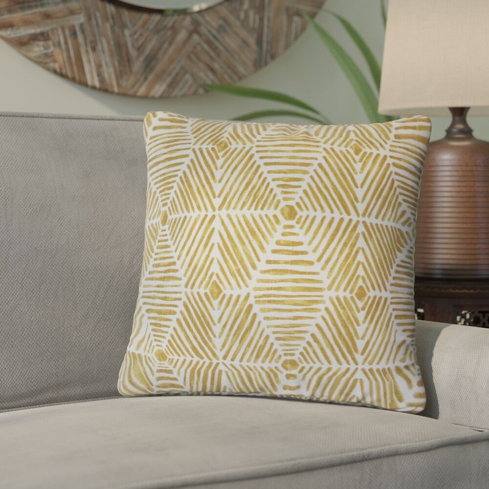 Tricia Geometric Cotton Throw Pillow Color: Yellow