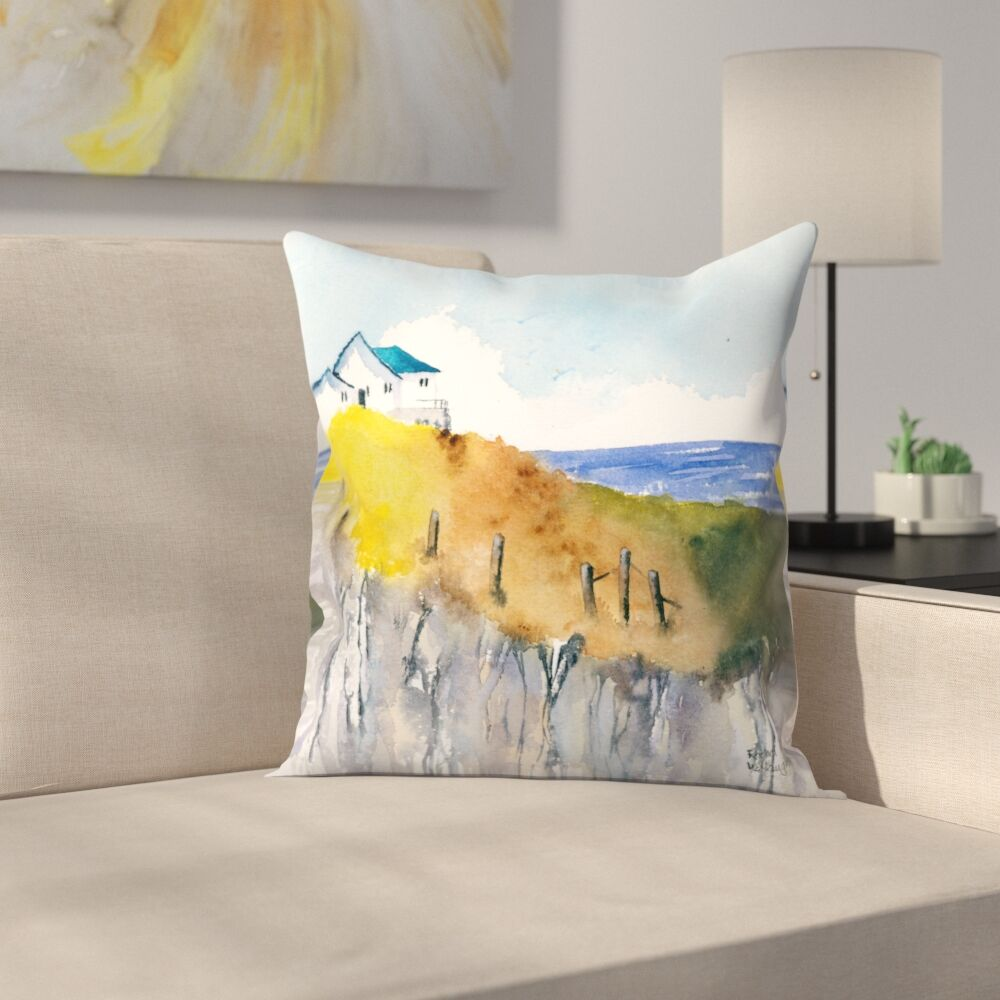 Clifftop Cottage Throw Pillow Size: 18