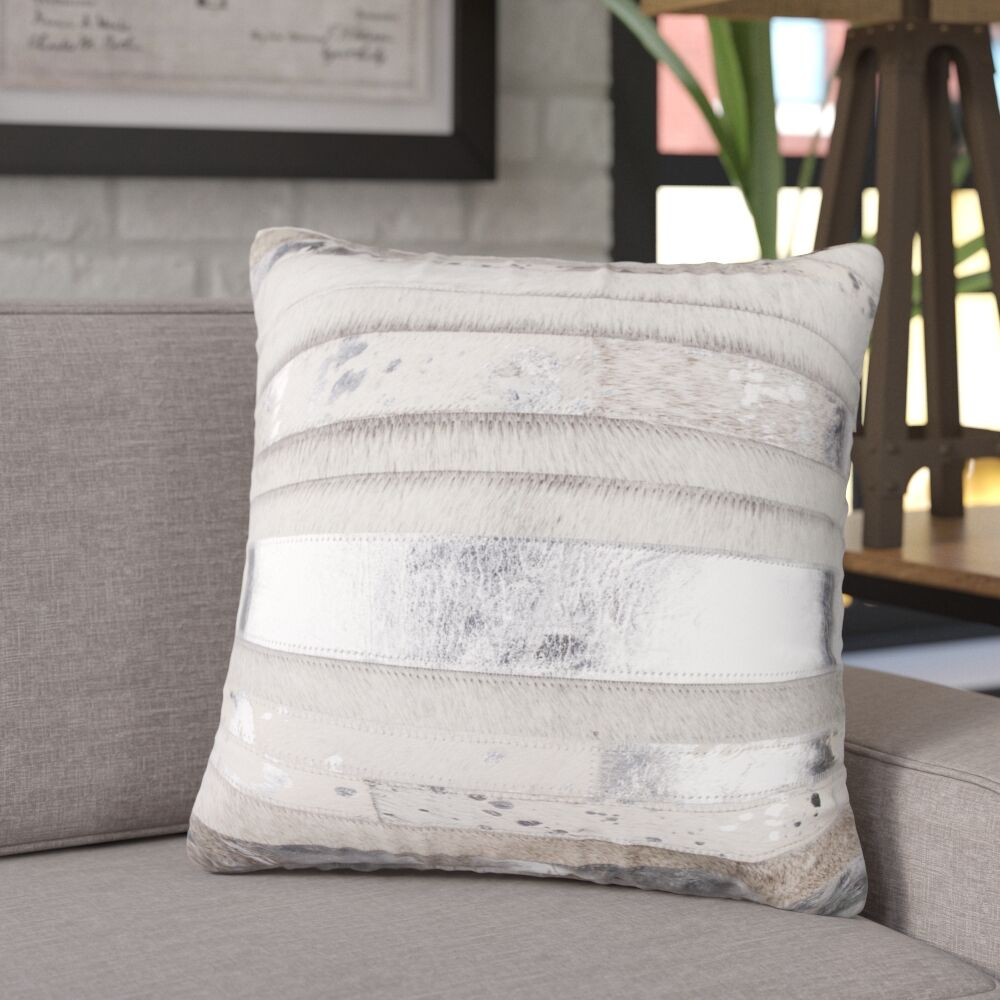 Sarthak Leather Throw Pillow Color: Gray/Silver