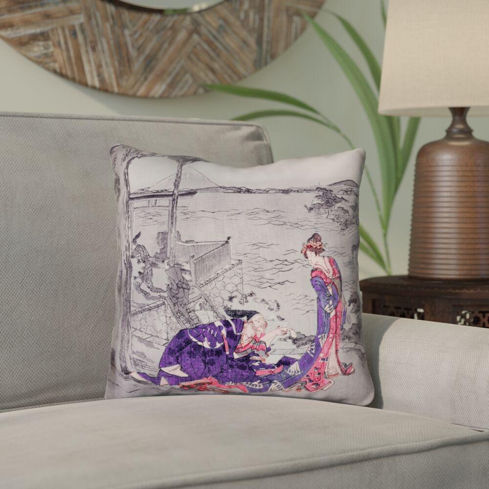 Enya Japanese Courtesan Outdoor Throw Pillow Size: 16