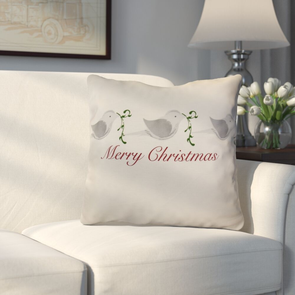 Decorative Holiday Word Print Throw Pillow Size: 20