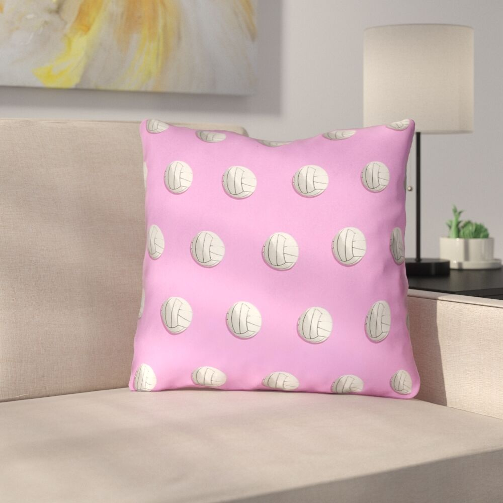 Volleyball Throw Pillow with Concealed Zipper and Insert Size: 16