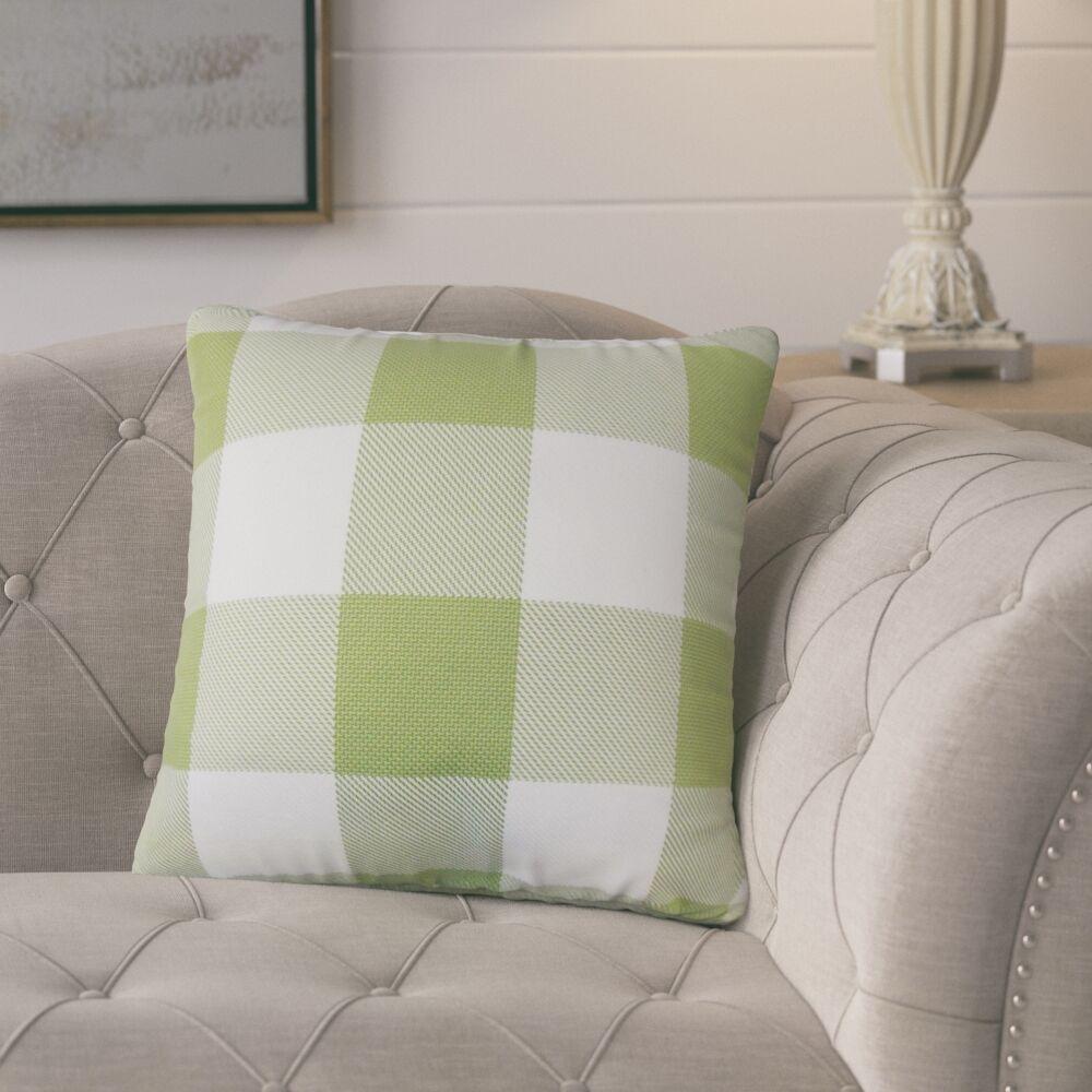 Pompa Plaid Cotton Throw Pillow Color: Green
