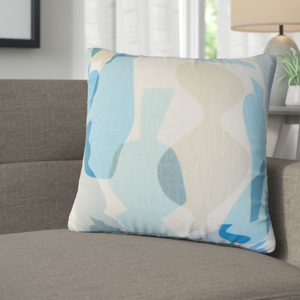 Kourtney Geometric Linen Throw Pillow Color: Blue