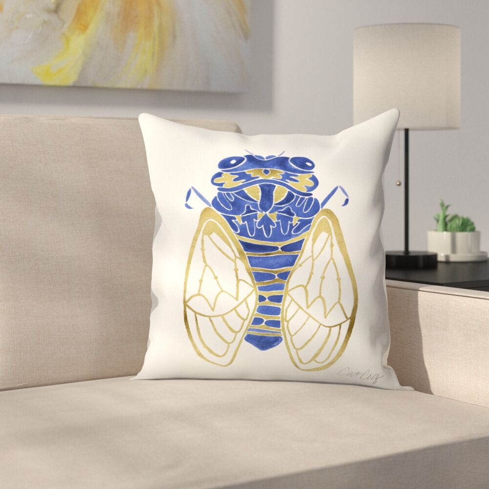 Cicada Throw Pillow Size: 16