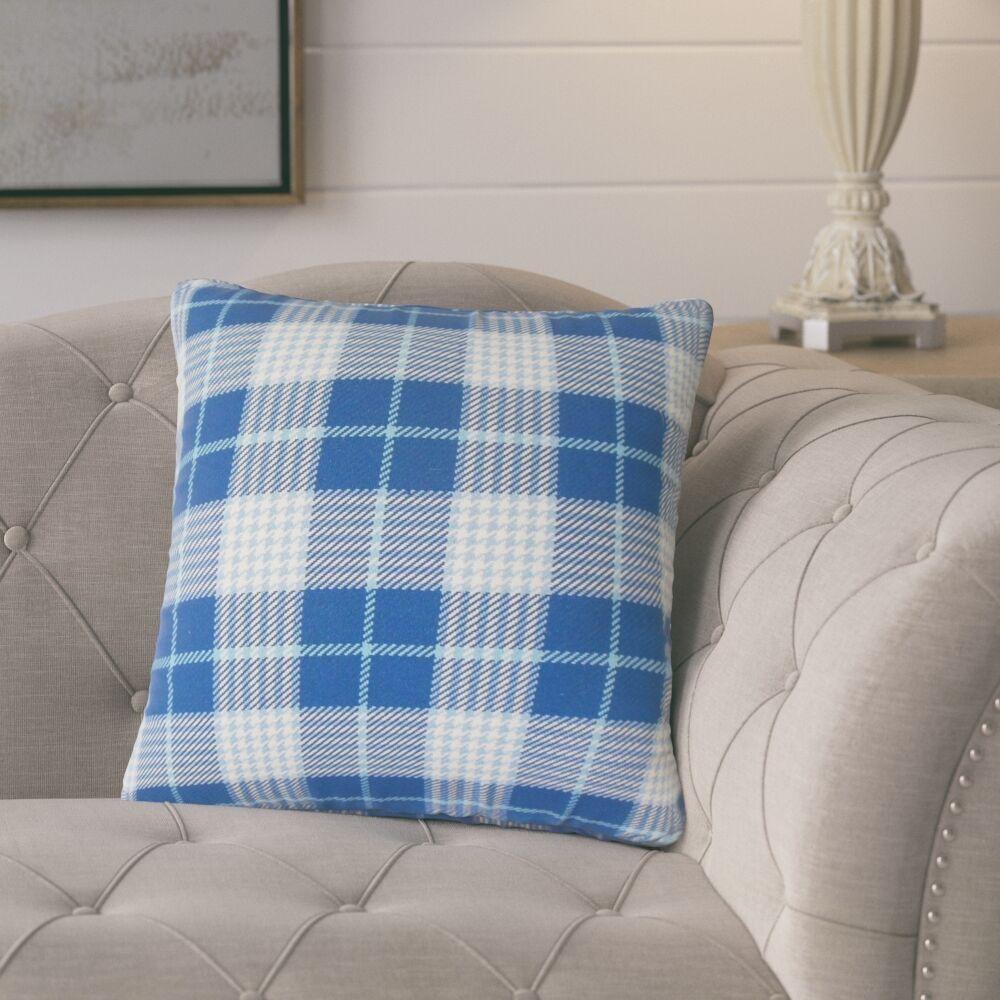 Tina Plaid Cotton Throw Pillow Color: Blue